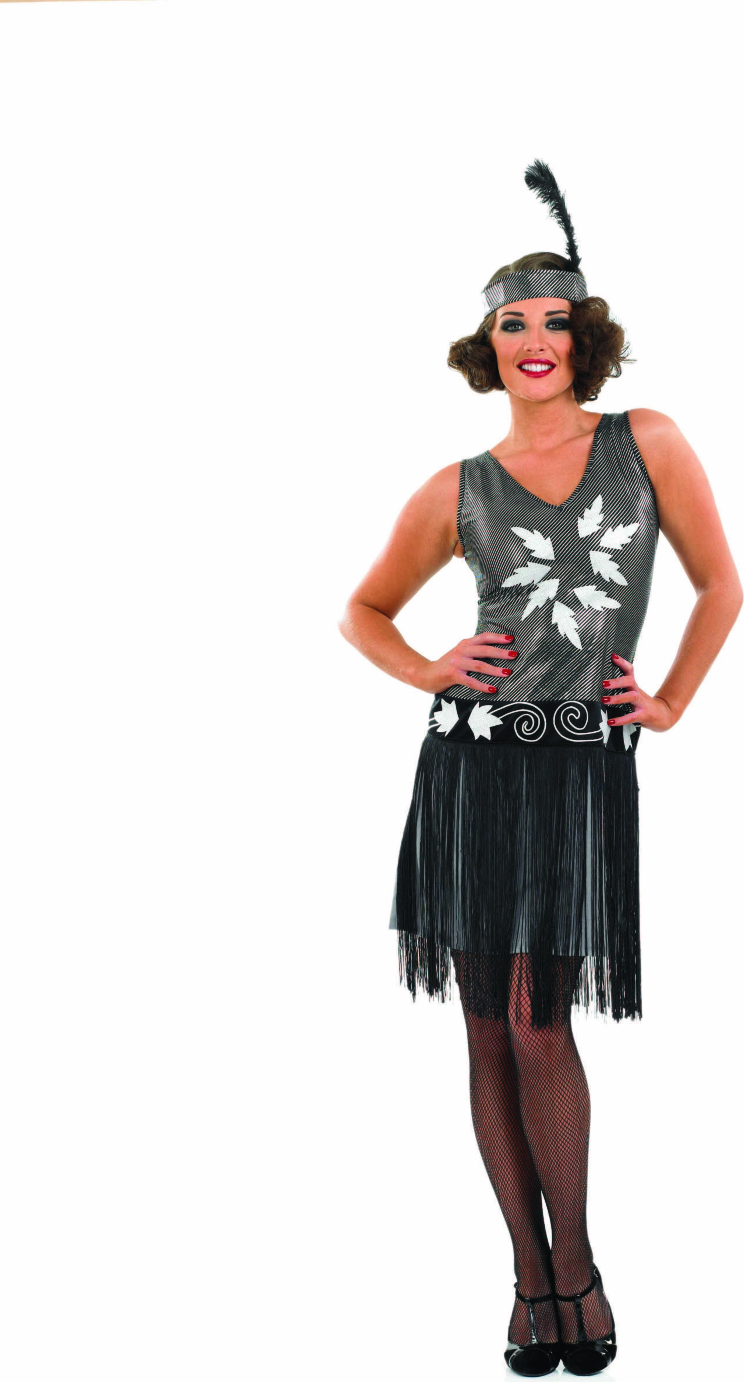 Ladies 1920S Cocktail Dress 1920'S Outfit - (Silver)