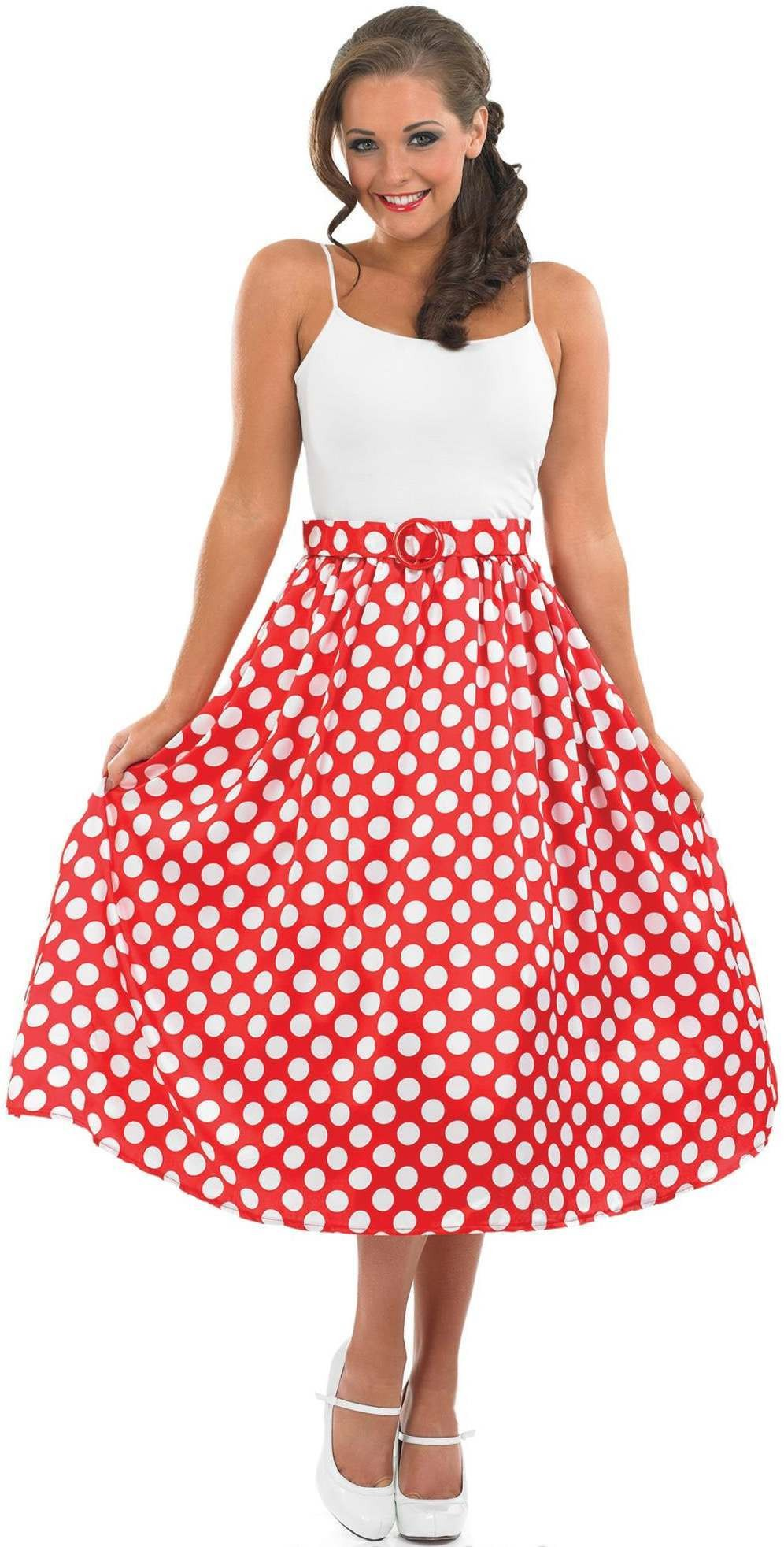 Ladies 1950S Red Rock N Roll Skirt Outfit - (Red)