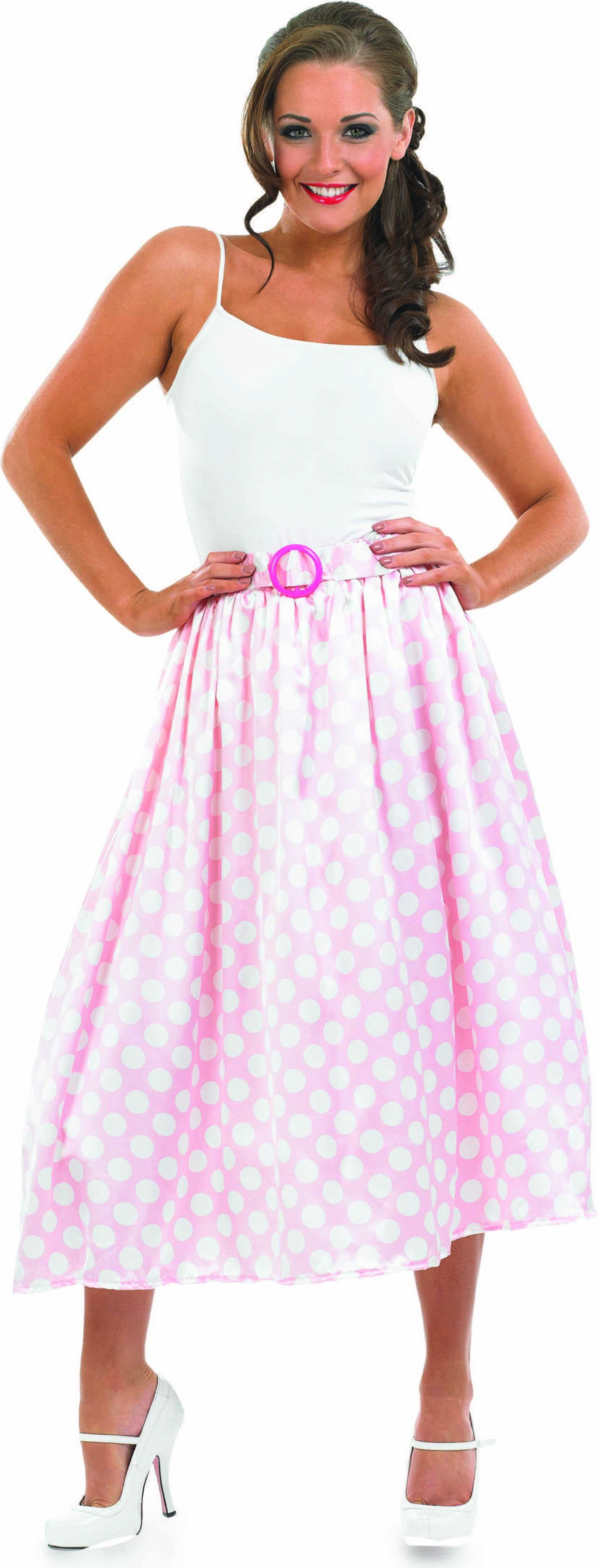 Ladies 1950S Pink Rock N Roll Skirt Outfit - (Pink)