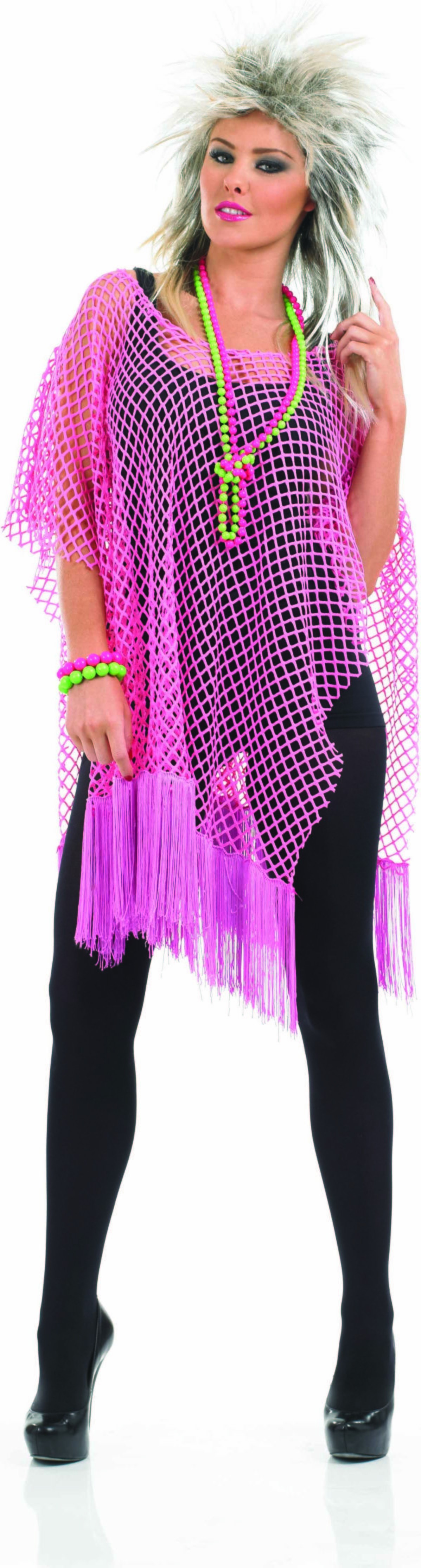 Ladies Neon Pink Long Net Top Accessories - (Pink)