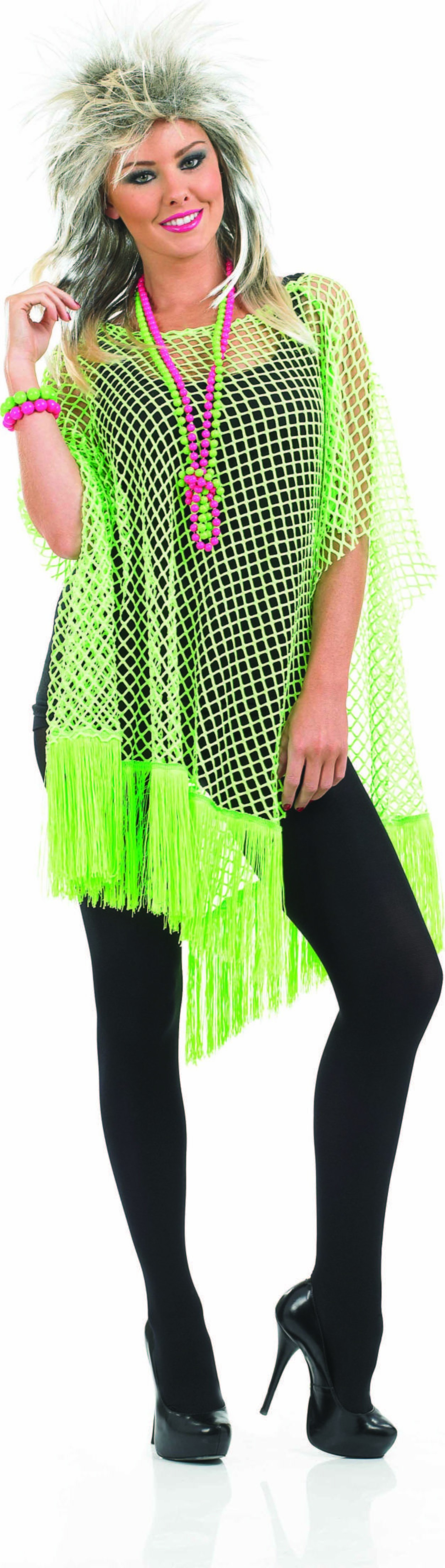 Ladies Neon Green Long Net Top Accessories - (Green)