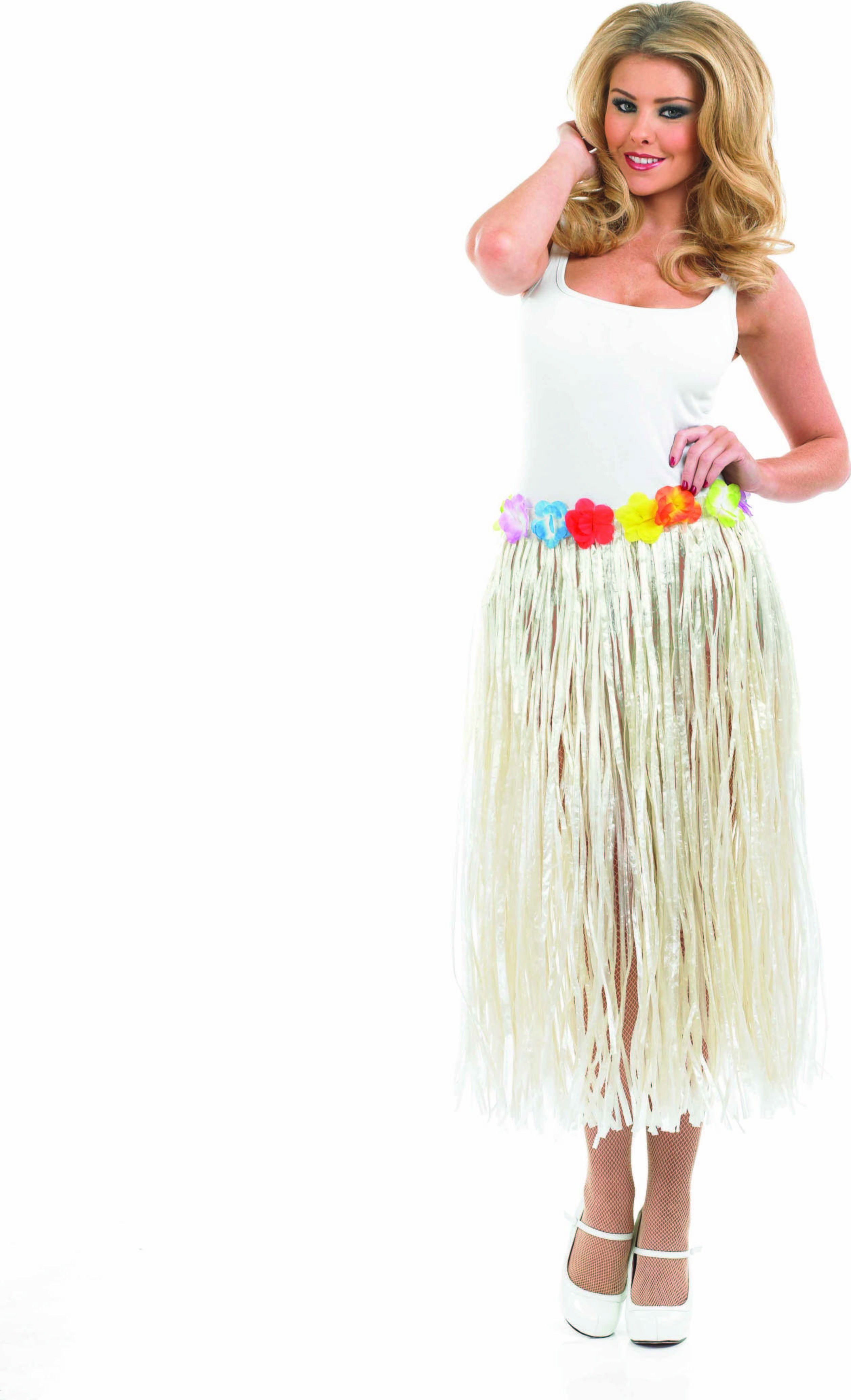 Ladies Grass Skirt With Flower Waistband Accessories - (Multicolour)