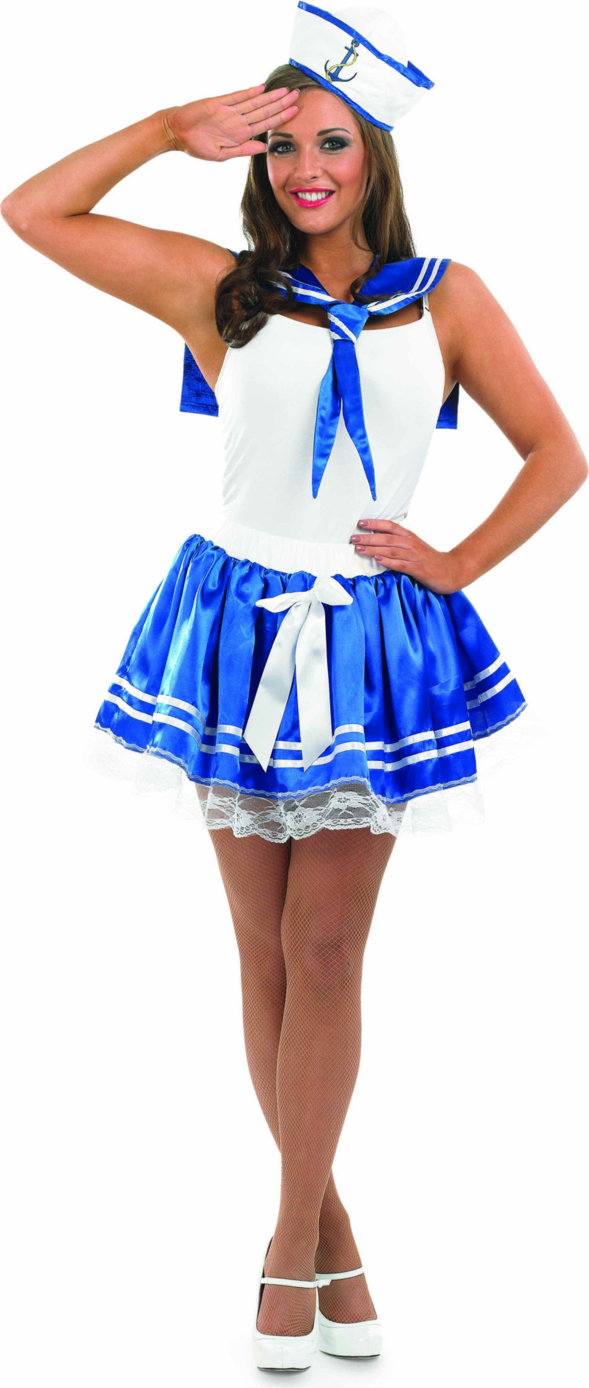 Ladies Sailor Set Sailor Outfit - One Size (White, Blue)