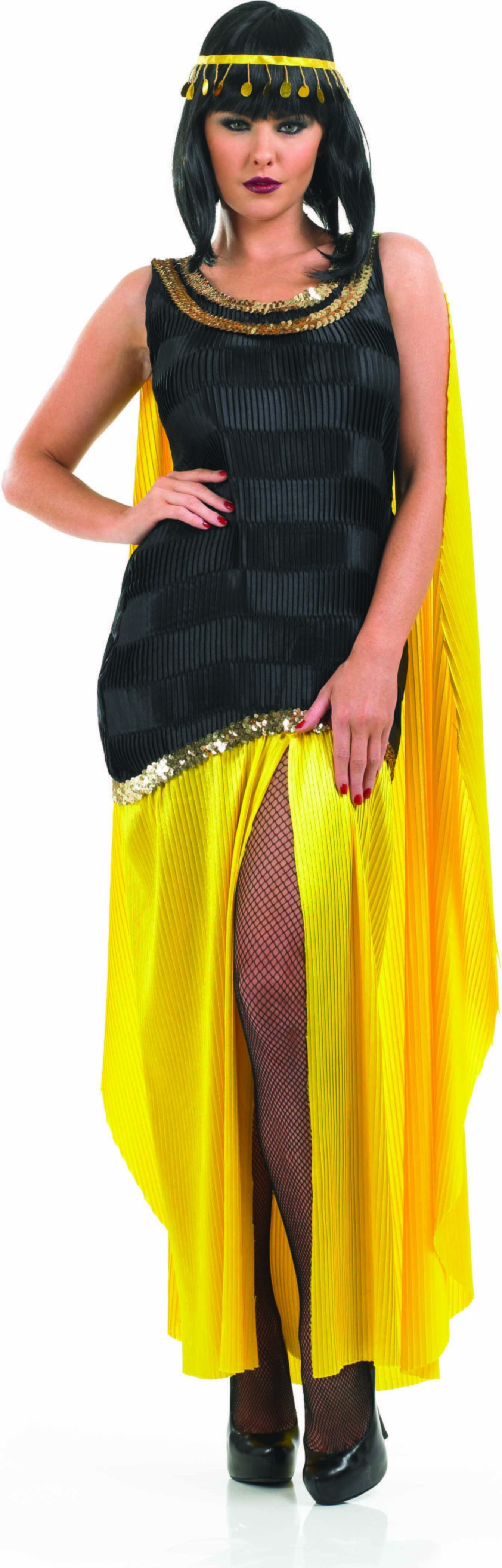 Ladies Cleopatra Girl Greek Outfit - (Black, Yellow)