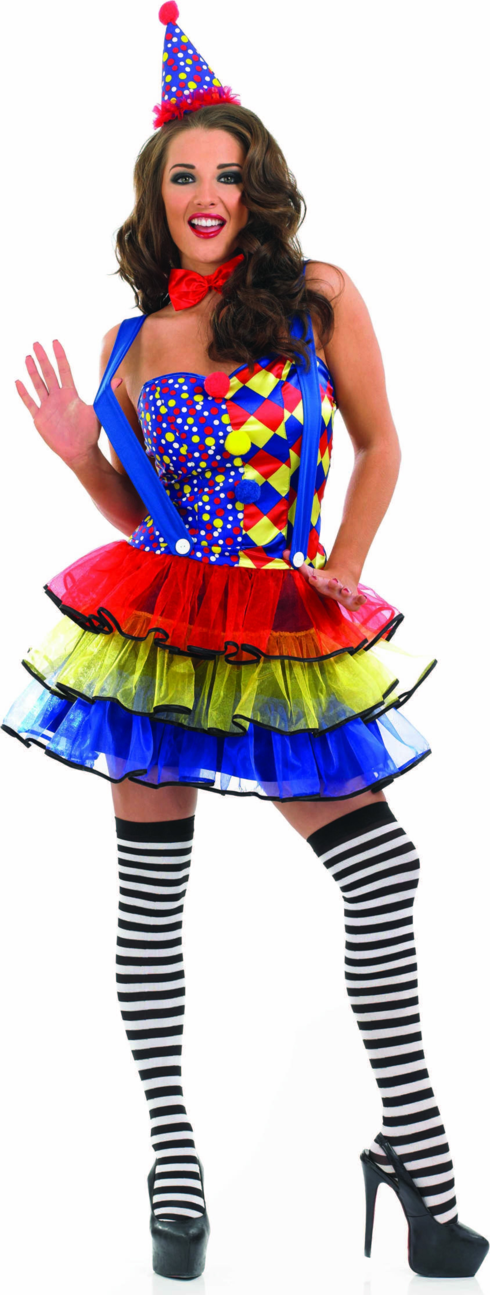 Ladies Sexy Clown Clowns Outfit - (Multicolour)