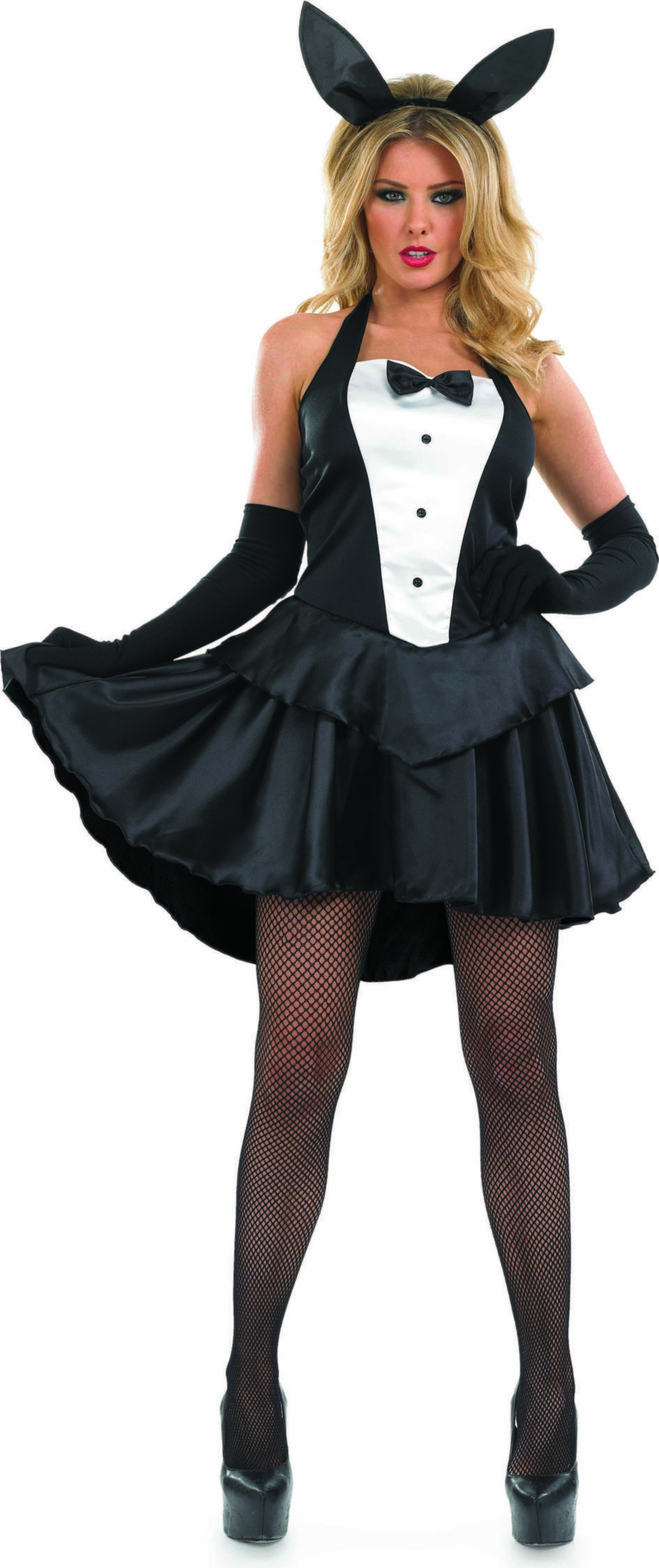 Ladies Bunny Girl Animal Outfit - (Black, White)