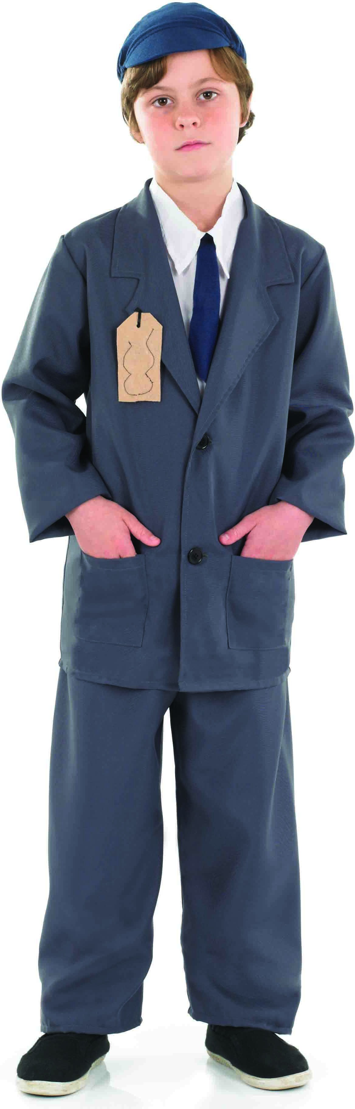 Boys Evacuee Boy Suit Fairy Tales Outfit - (Grey)