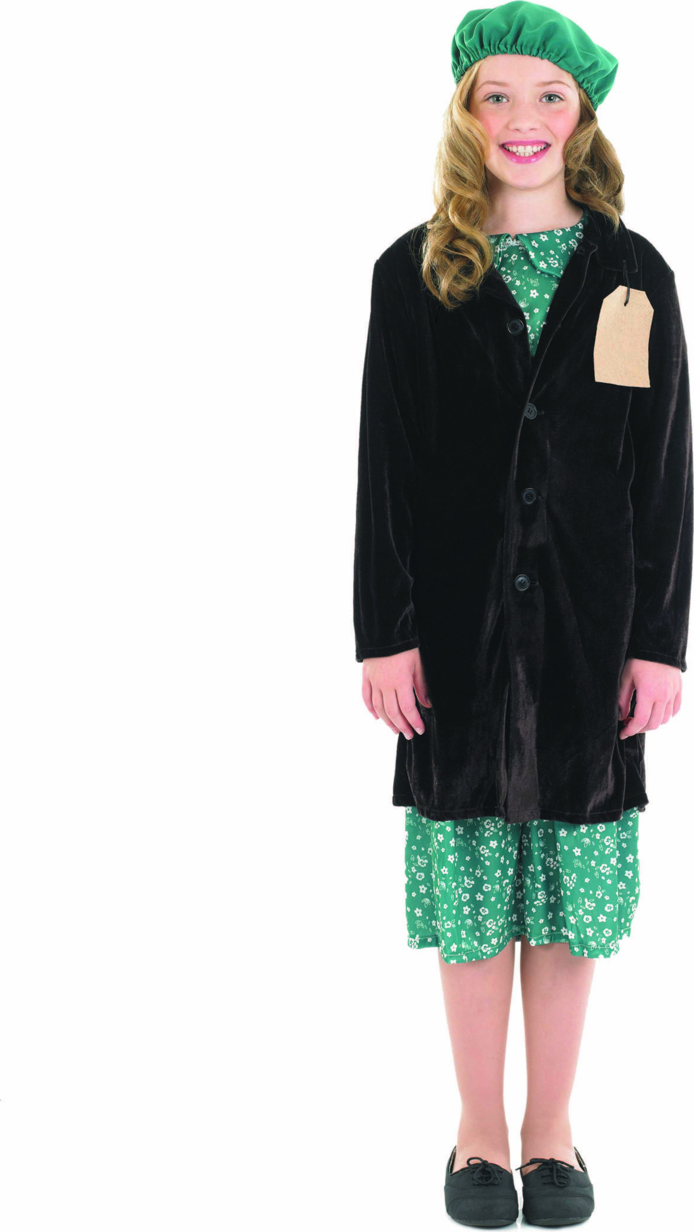 Girls Evacuee Girl With Coat Fairy Tales Outfit - (Green, Brown)