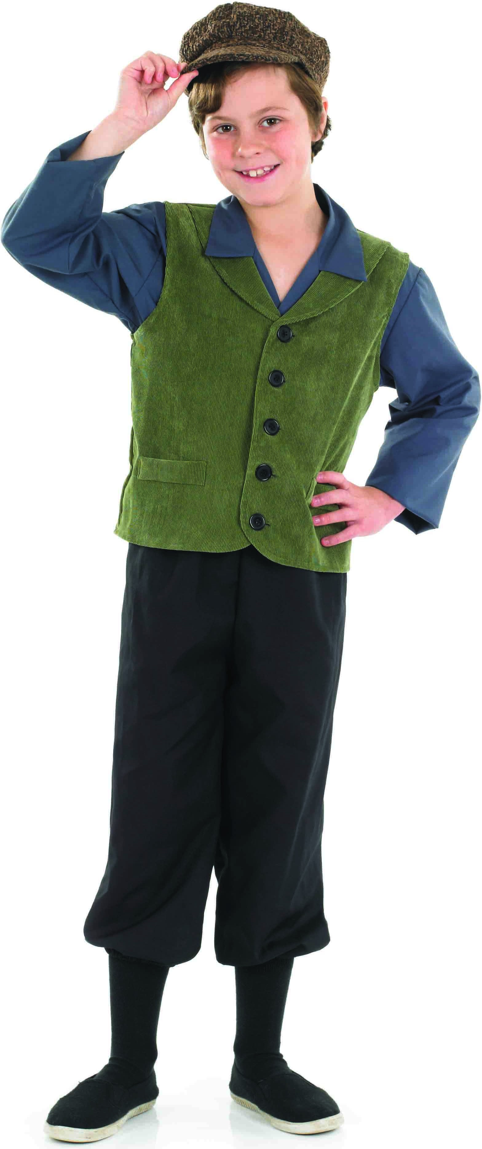 Boys Victorian School Boy Victorian Outfit - (Green, Blue, Grey)