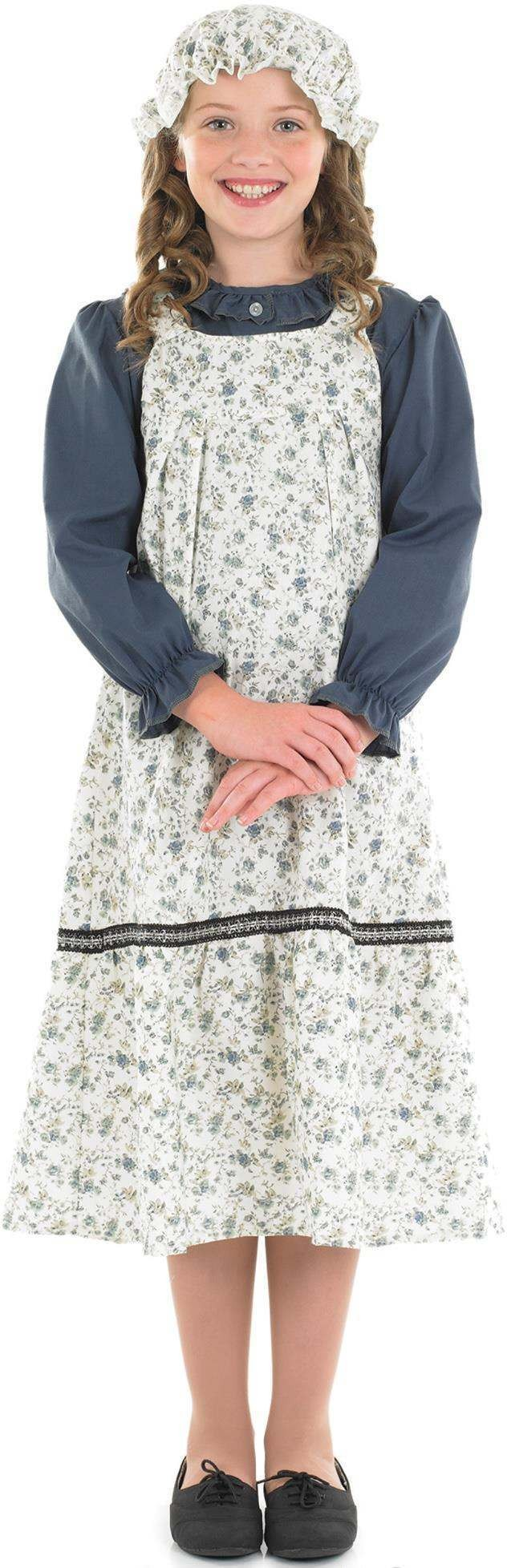 Girls Victorian School Girl Victorian Outfit - (White, Blue)