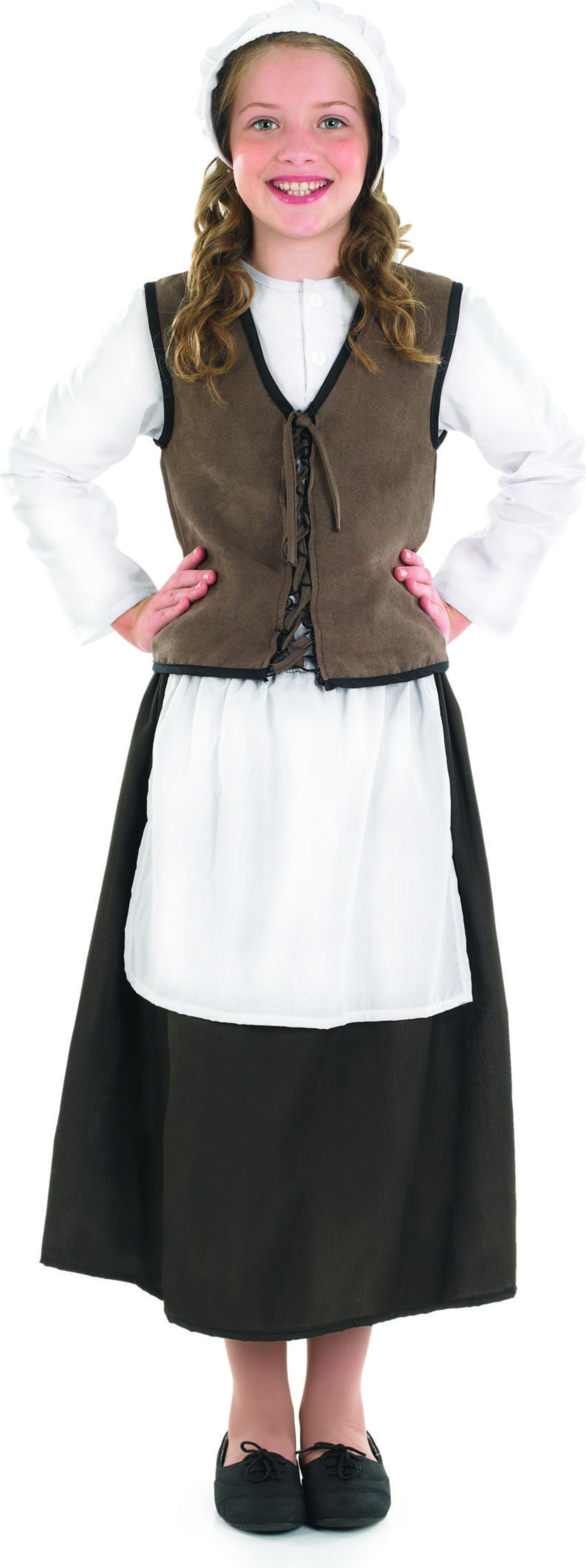 Girls Tudor Kitchen Girl Tudor Outfit - (White, Brown)