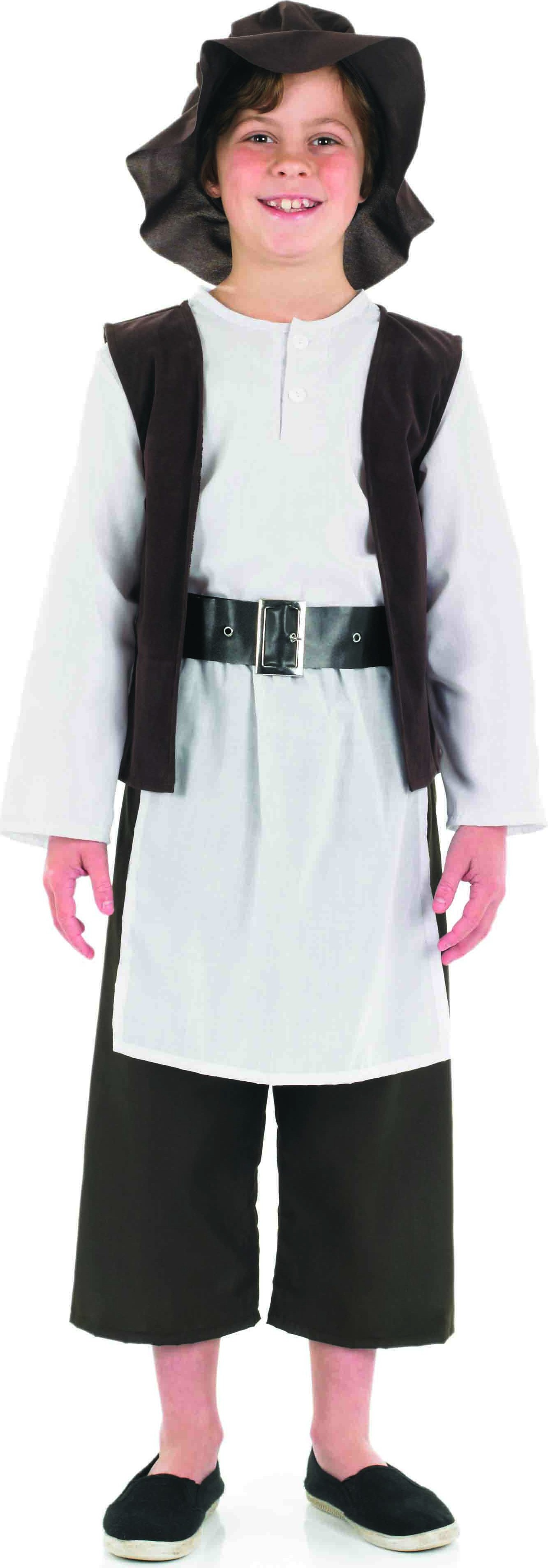 Boys Deluxe Tudor Boy Victorian Outfit - (White, Brown)