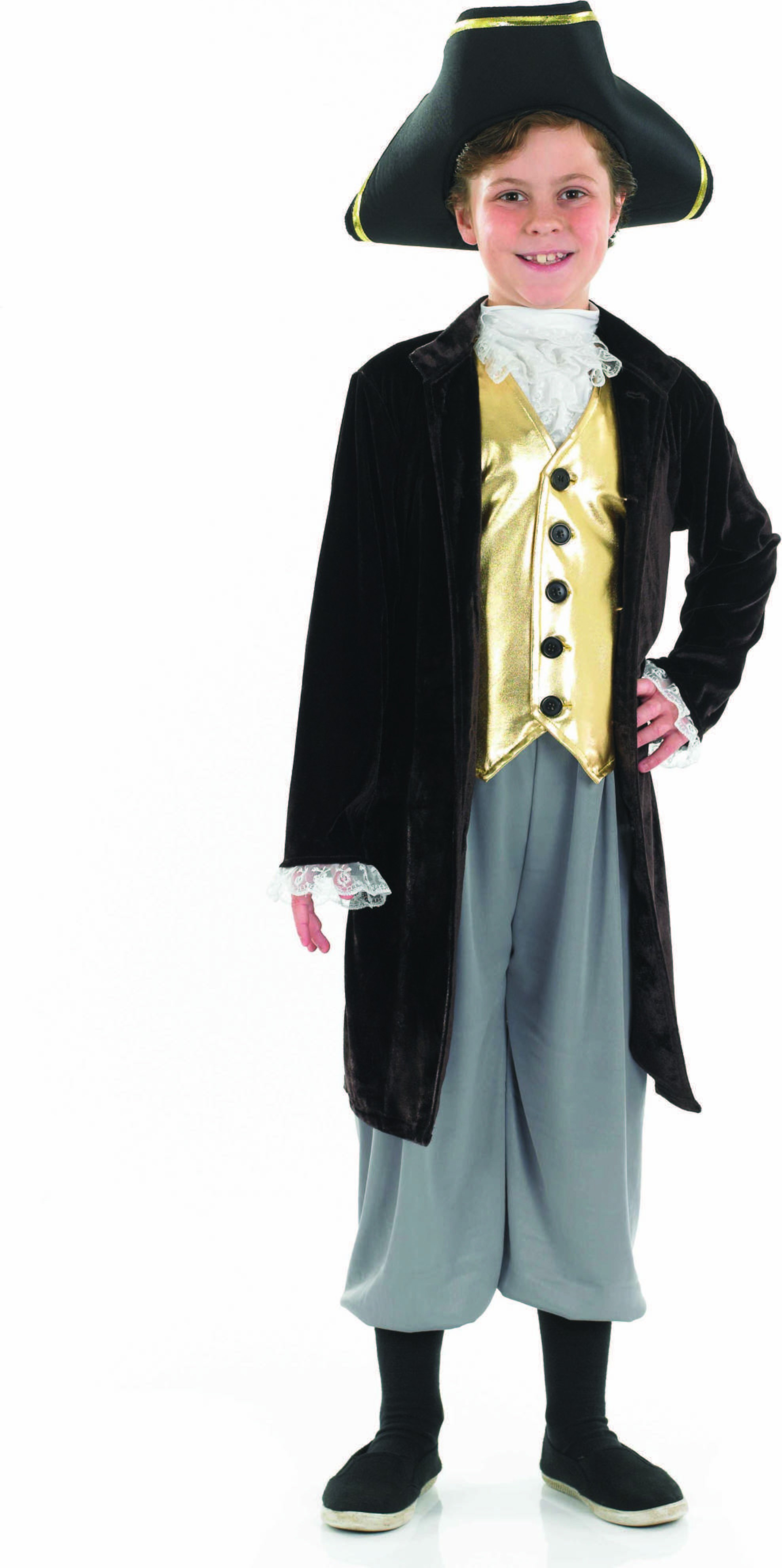 Boys Young Gentleman Period Outfit - (Black, Gold)