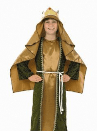 Boys Gold Nativity Wise Man.Includes:Robe,Head Piece With Attached Hat And Belt.