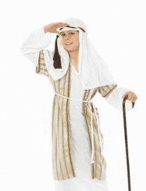 Boys White And Gold Nativity Shepheard.Includes:Robe,Head Piece And Belt.