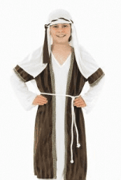Boys White And Grey Nativity Shepheard.Includes:Robe,Head Piece And Belt.