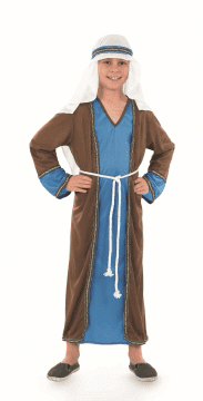 Boys Blue And Brown Joseph Nativity Costume.Includes Robe,Belt And Head Piece.