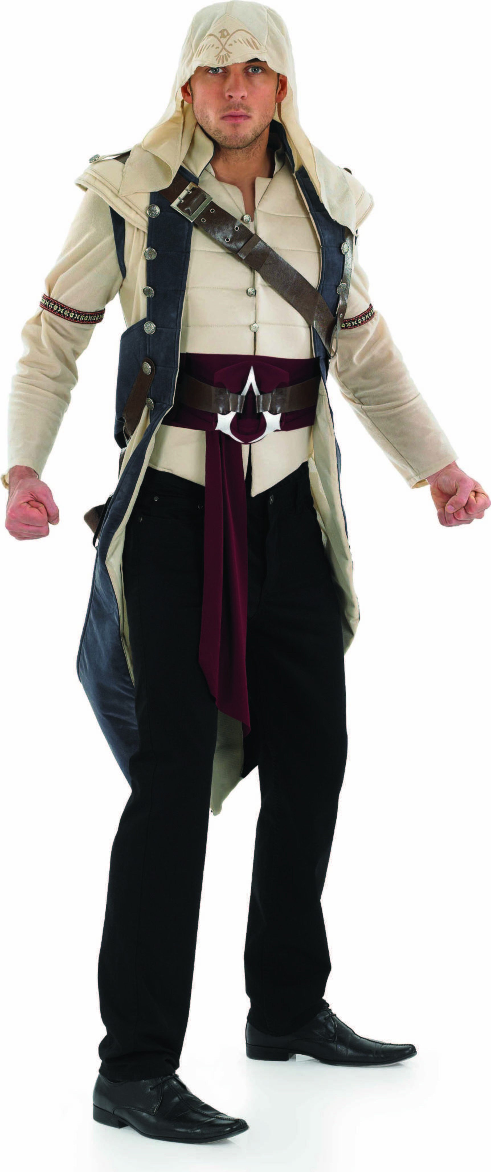 Mens Assasins Creed Jacket & Hood Videogames Outfit (Beige)