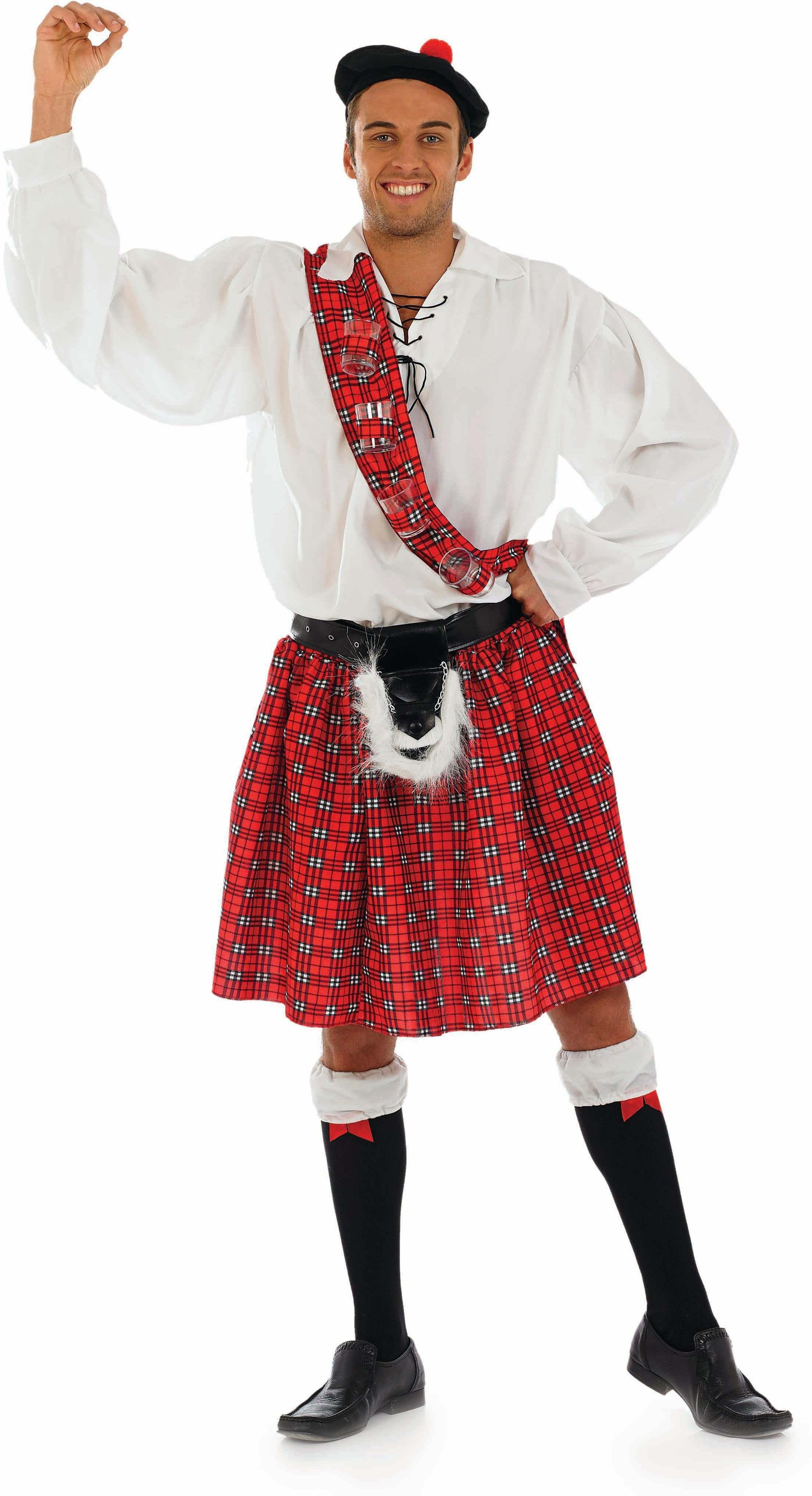 Mens Big Shot Scot Scottish Outfit (Red,White)