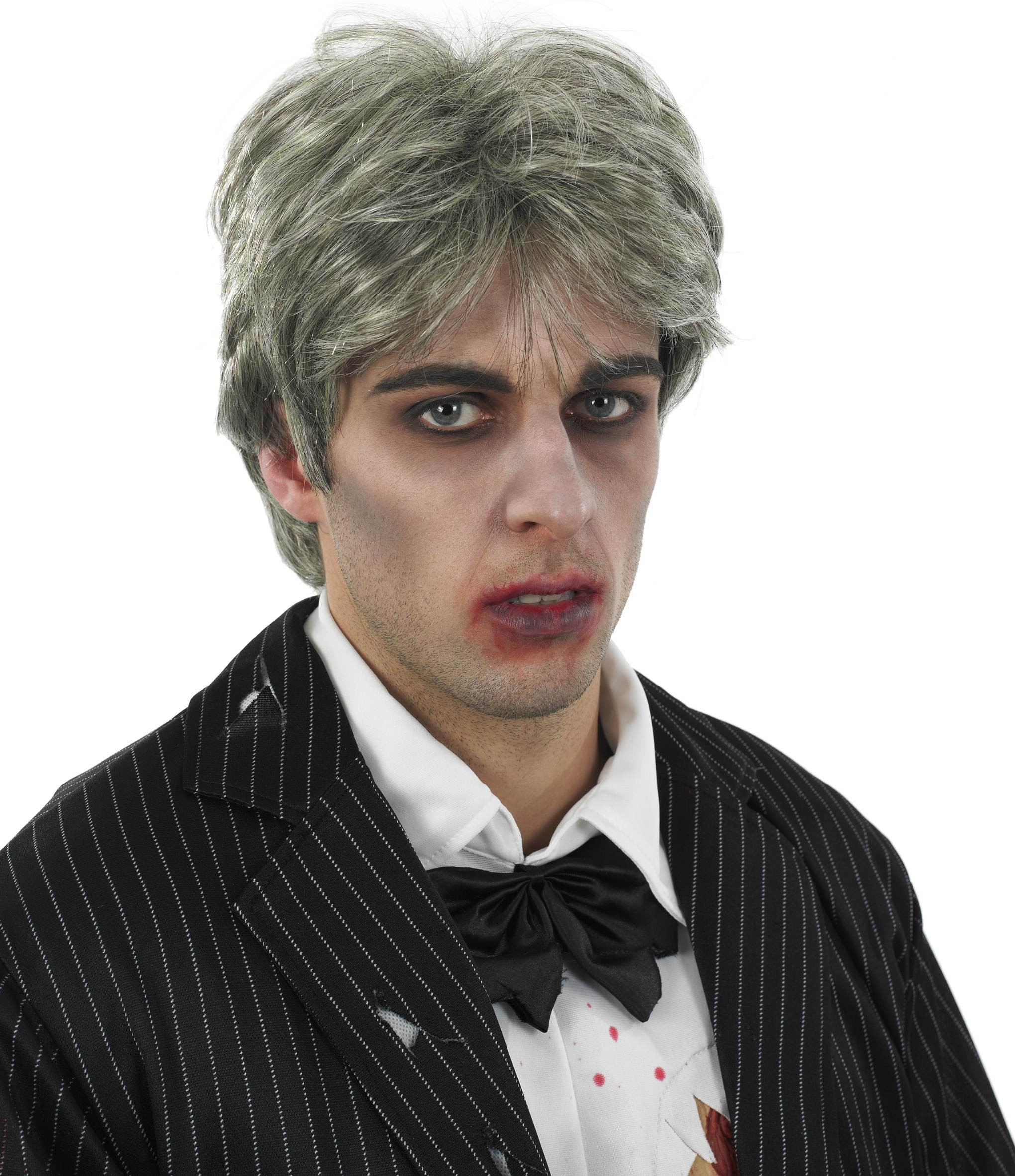 Mens Grey (Male Zombie Wig)Fancy Dress Costume
