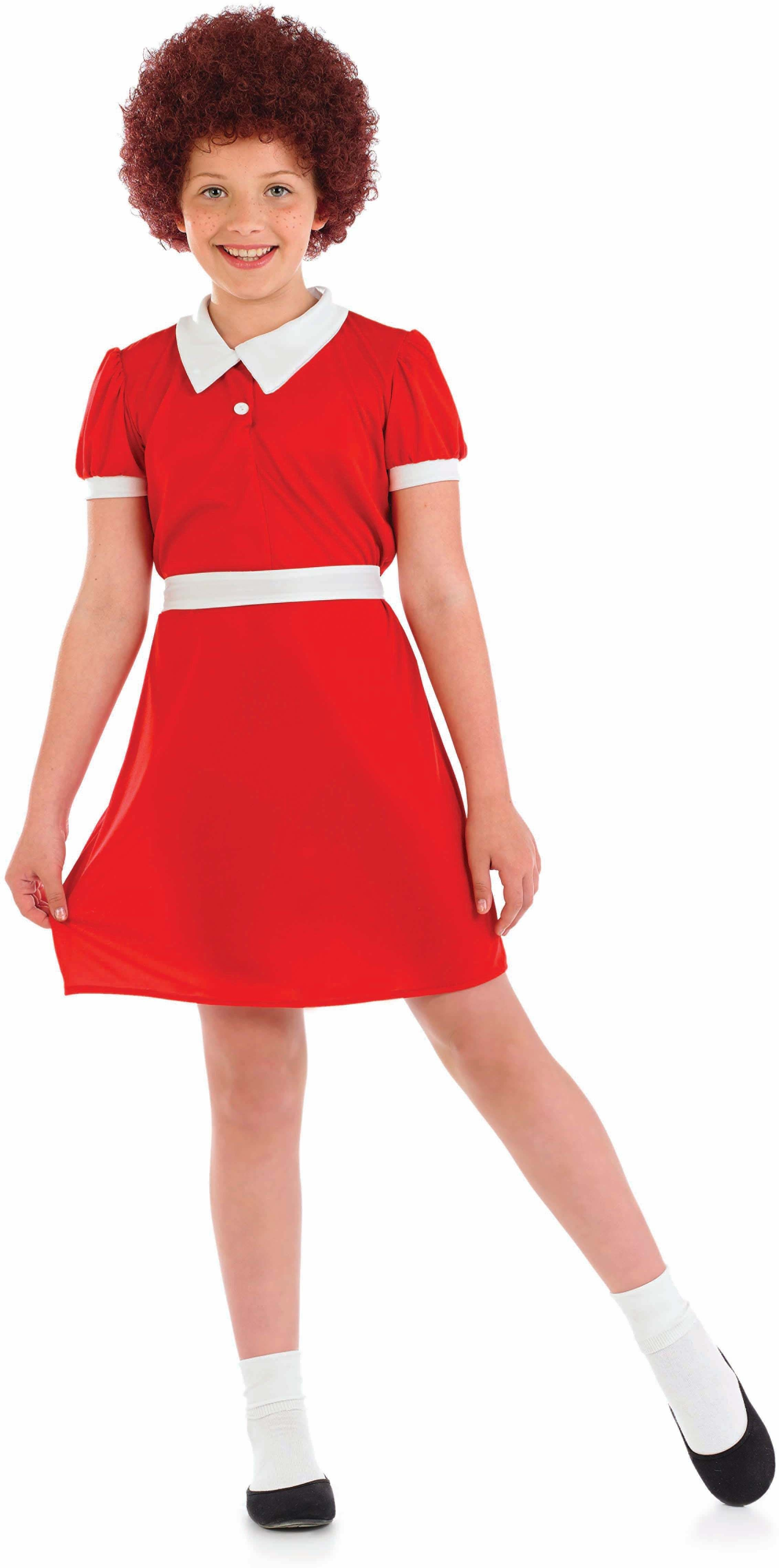 Girls Little Orphan Girl Film Outfit - (Red)