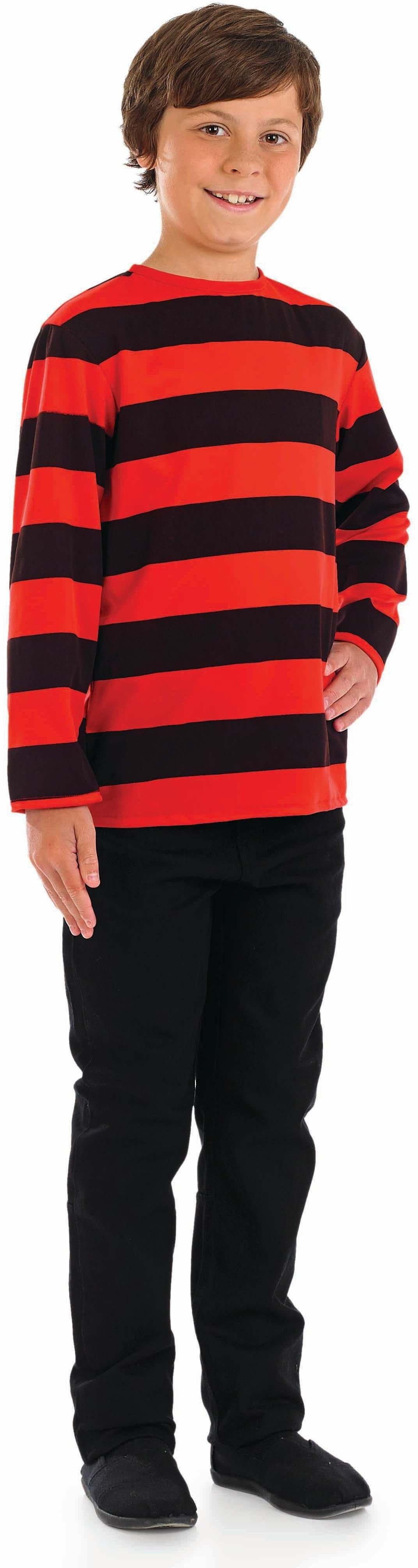 Boys Black & Red Striped Jumper - (Black, Red)