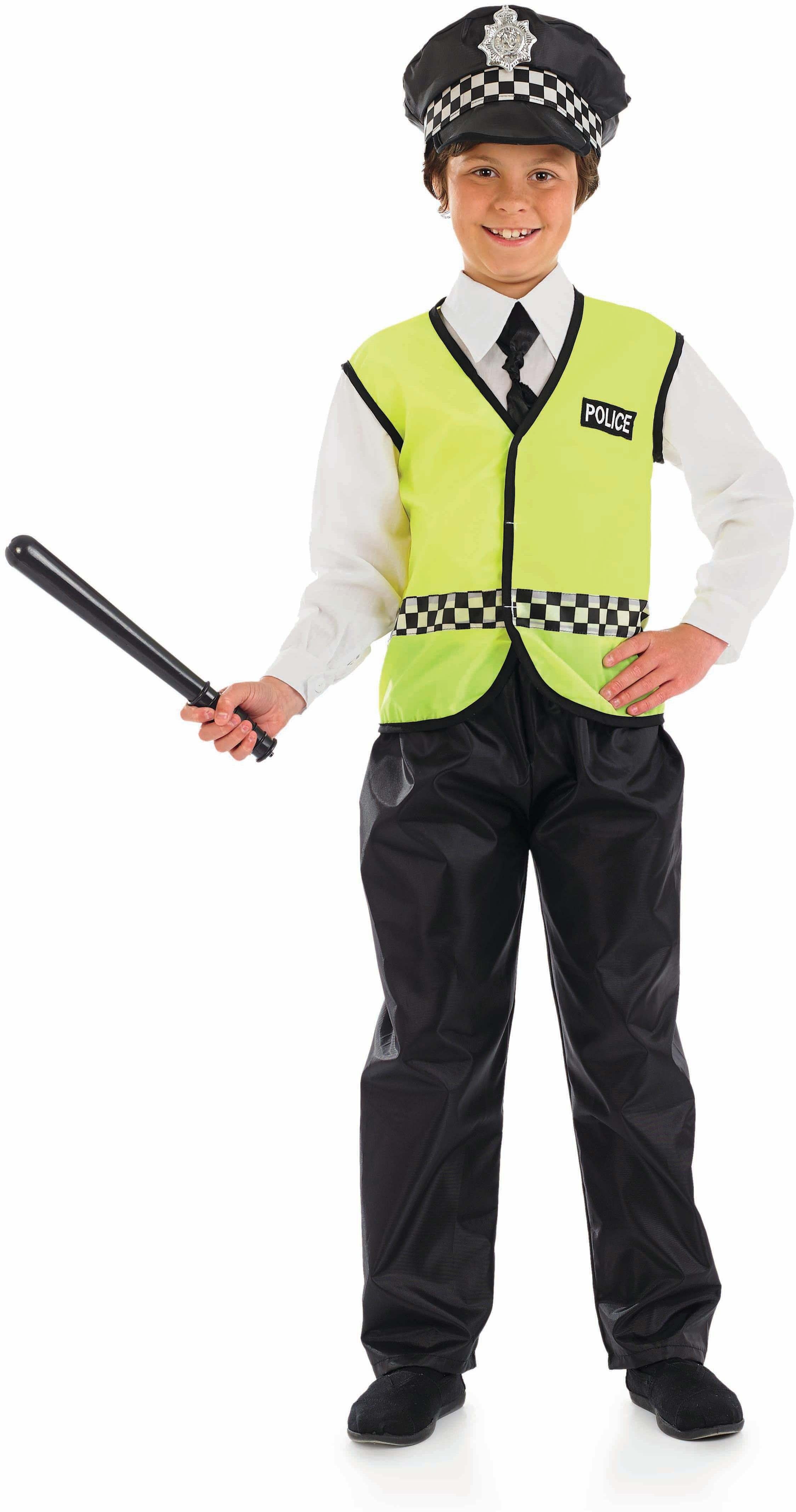 Boys Policeman Cops/Robbers Outfit - (Black, White, Yellow)