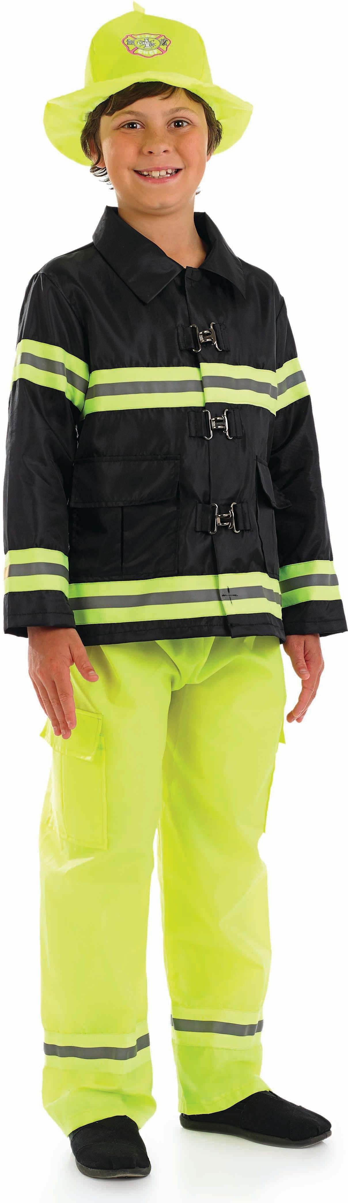 Boys Fireman Fire Service Outfit - (Black, Yellow)