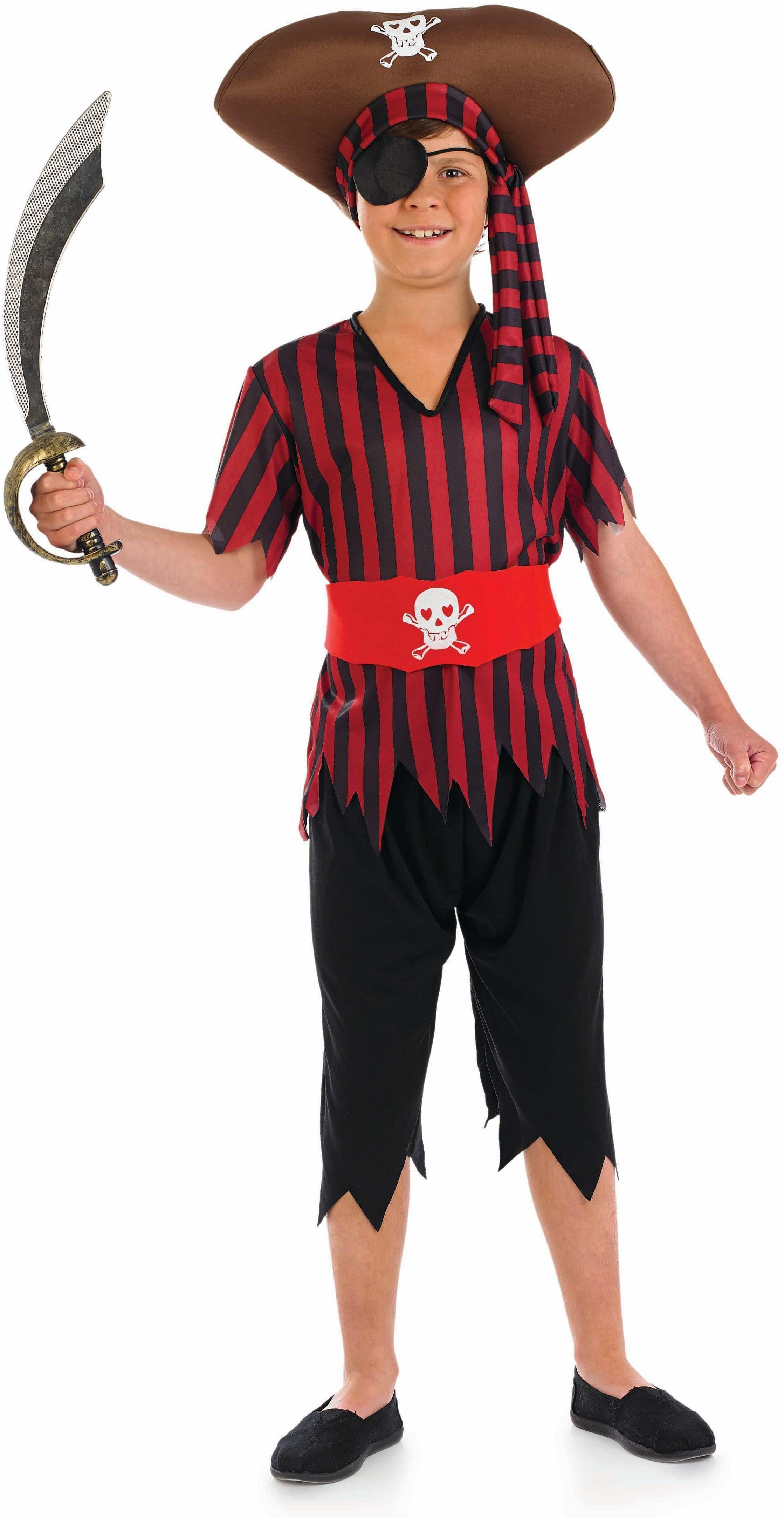 Boys Pirate Pirates Outfit - (Black, Red)
