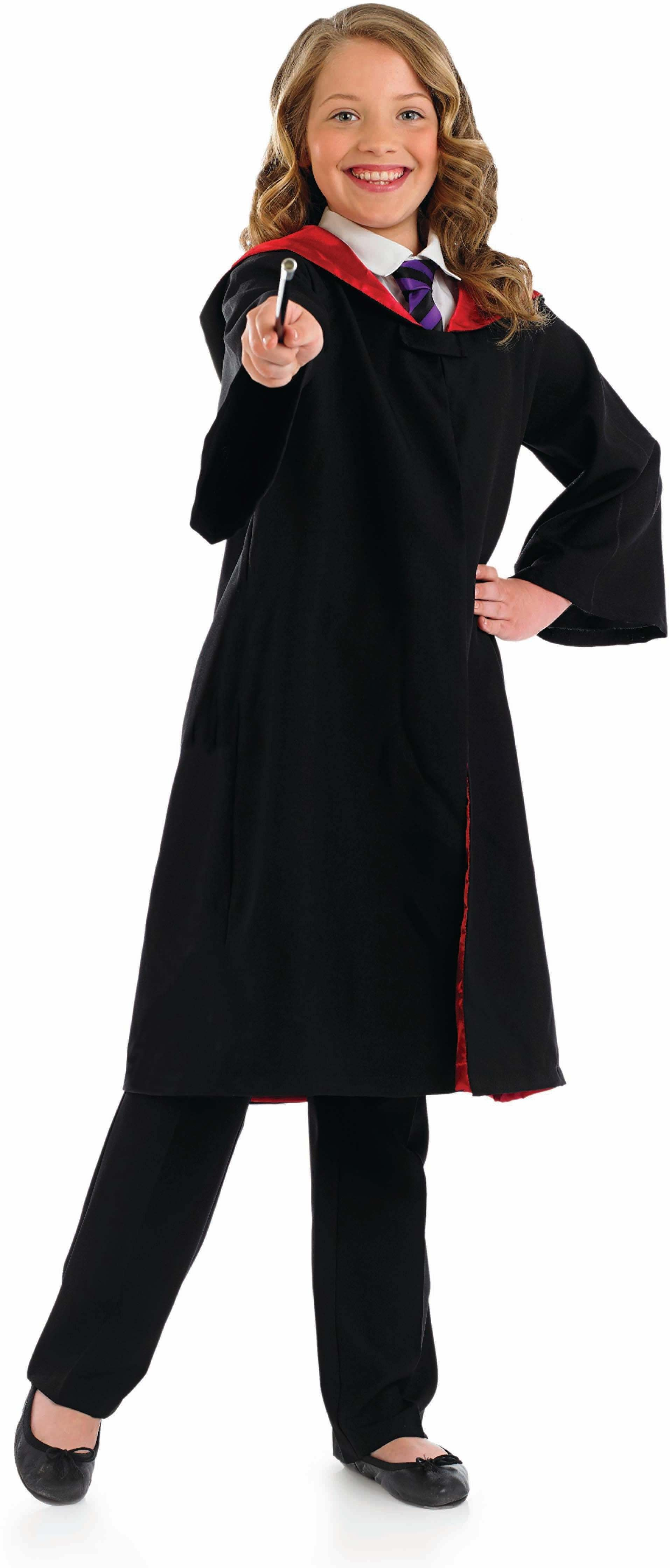 Adult Unisex Wizard Cape & Wand Wizards Outfit - (Black)