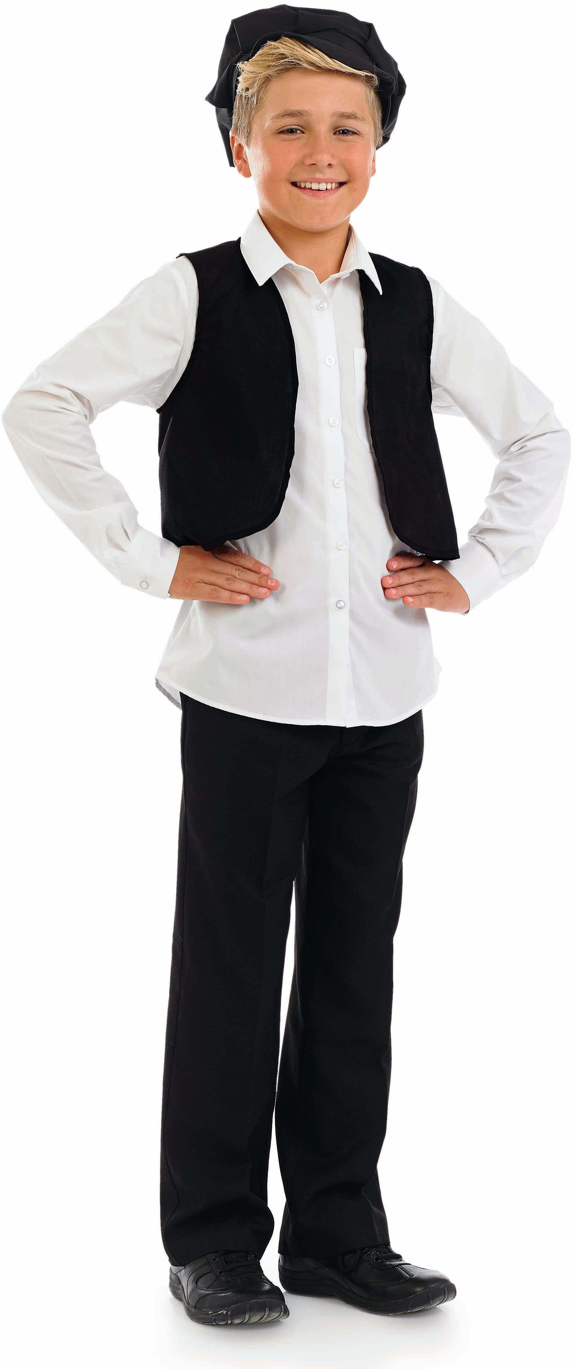 Boys Victorian Cap & Waistcoat Victorian Outfit - (Black)