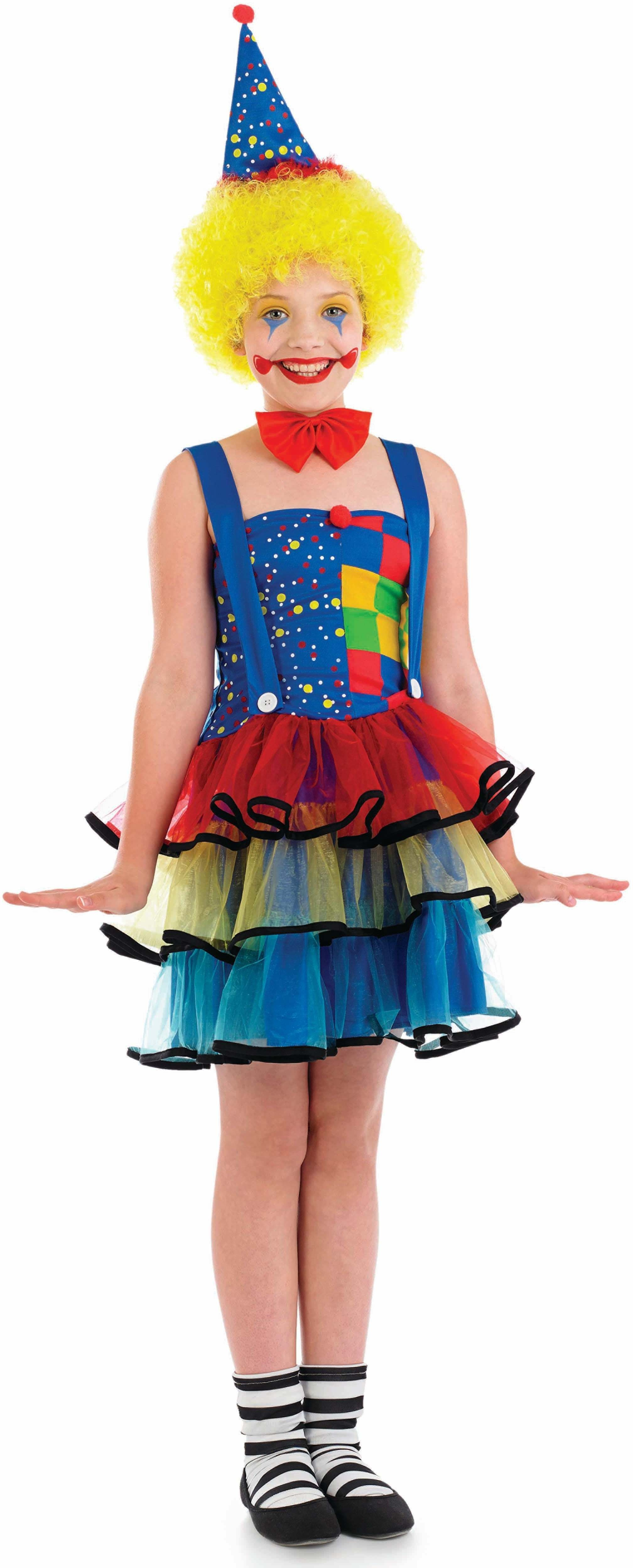 Girls Clown Clowns Outfit - (Multicolour)