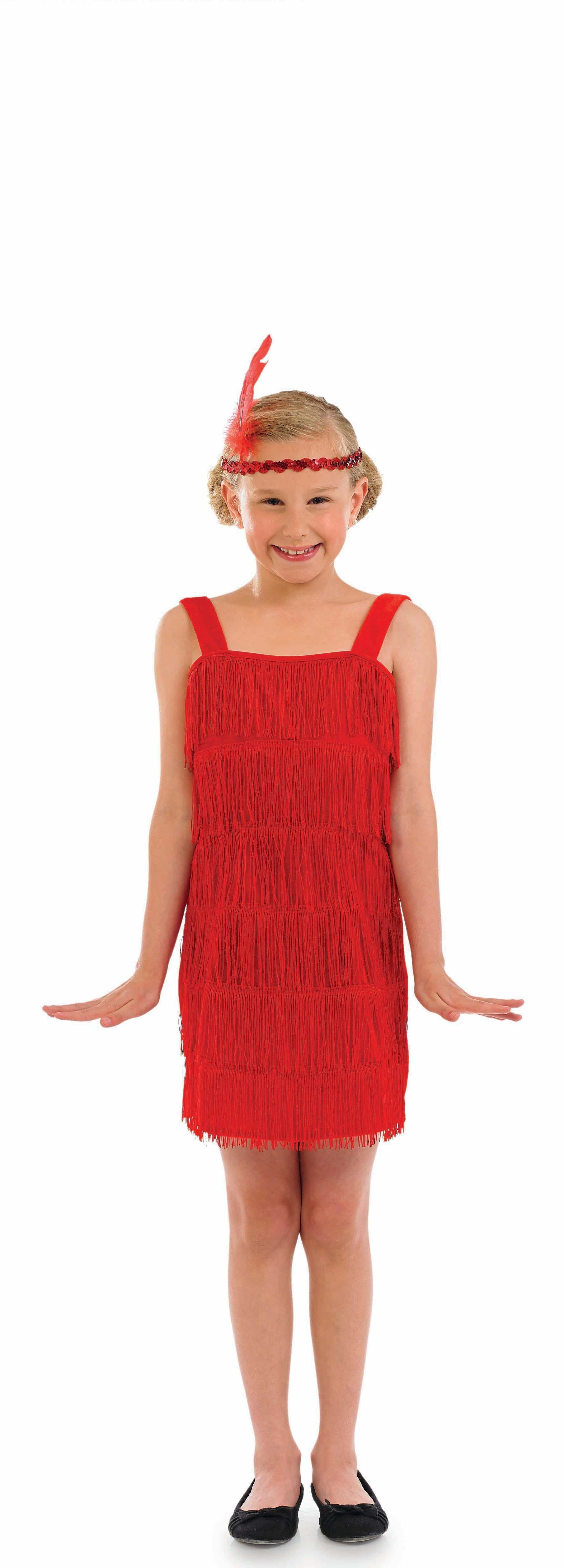 Girls Red Flapper 1920'S Outfit - (Red)