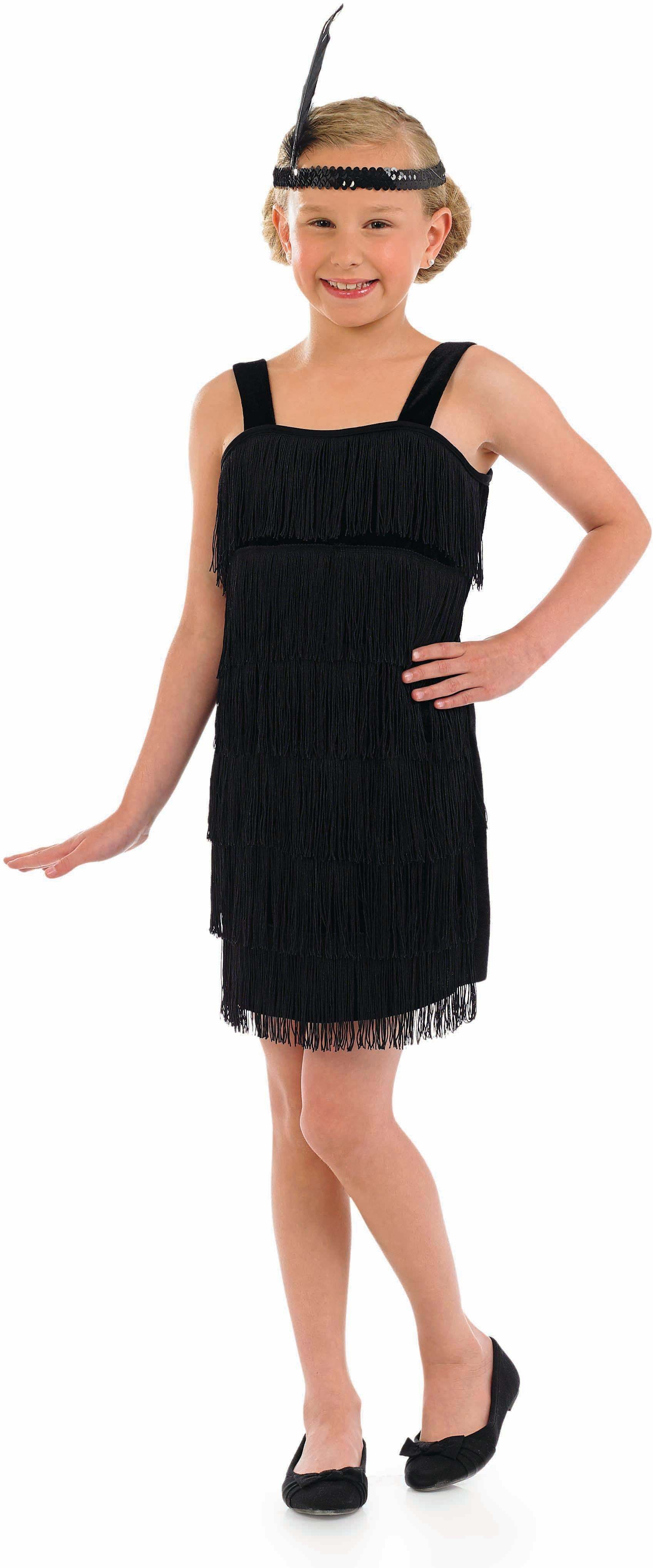 Girls Black Flapper 1920'S Outfit - (Black)
