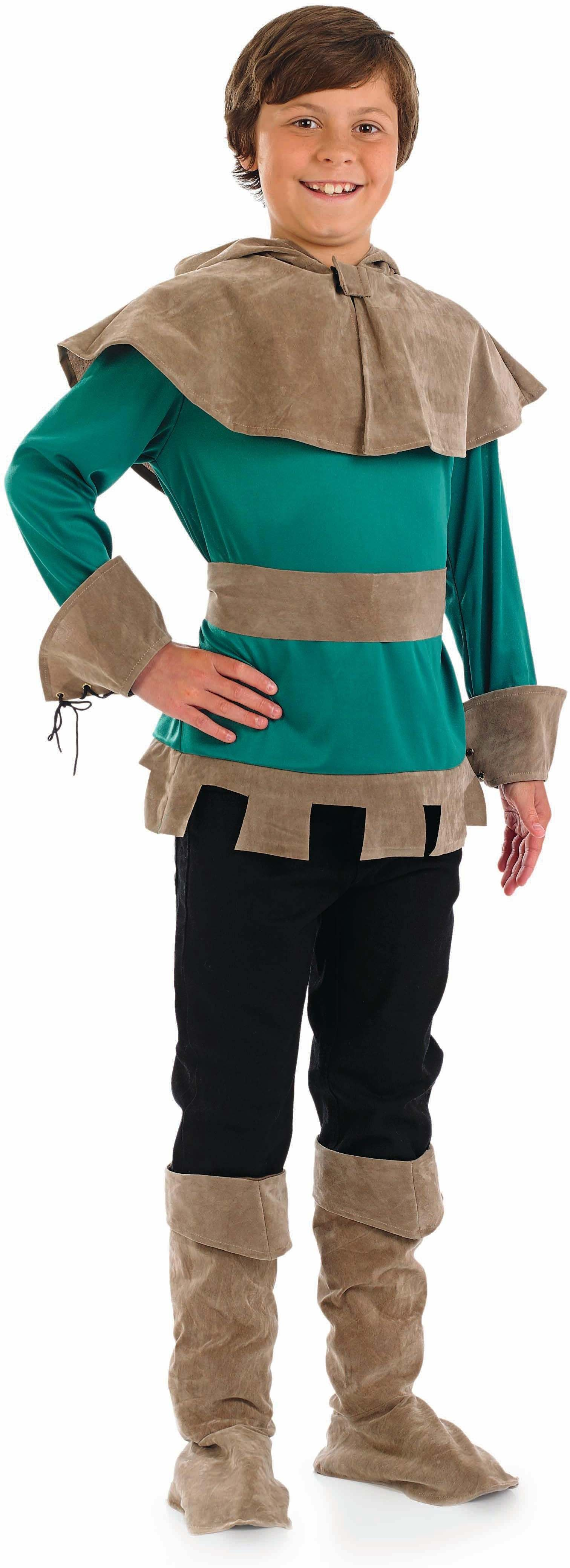 Boys Robin Hood Old English Outfit - (Green, Brown)