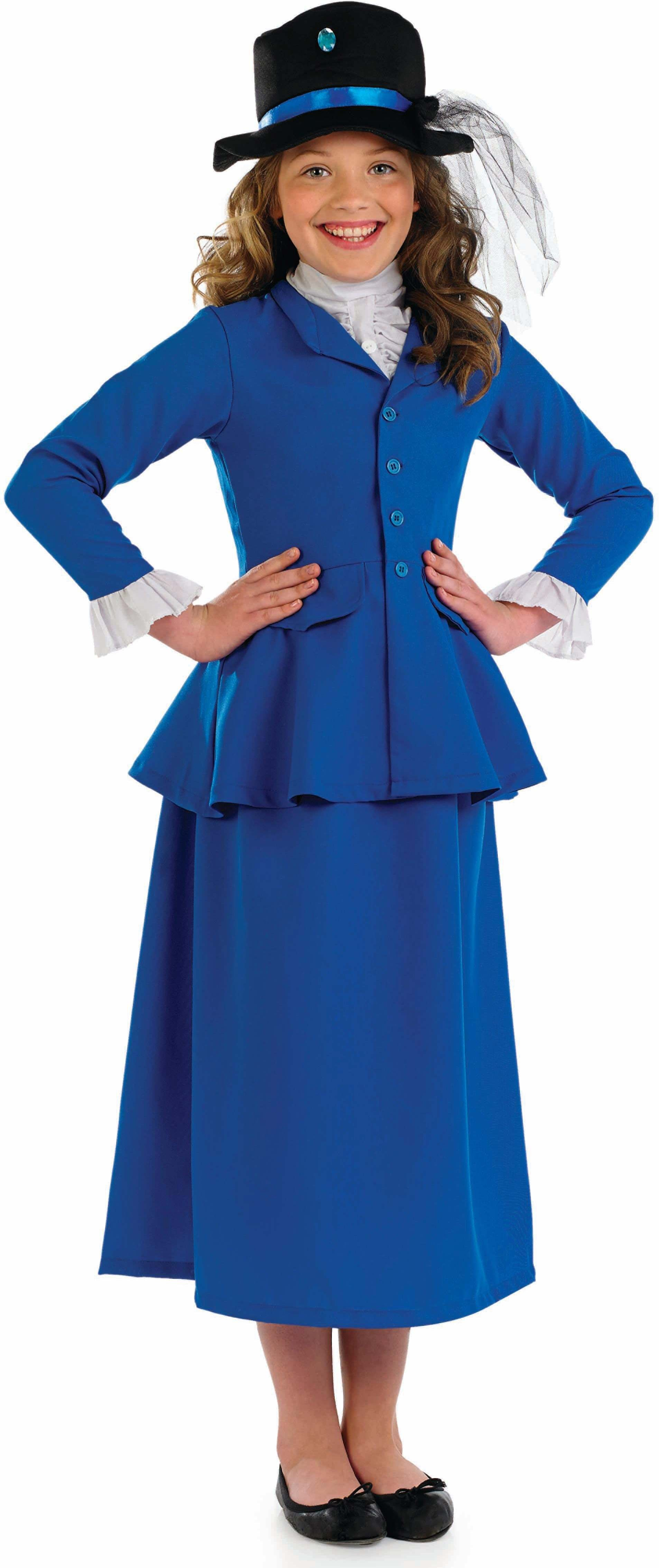 Girls Victorian Dress Victorian Outfit - (Blue, Red)