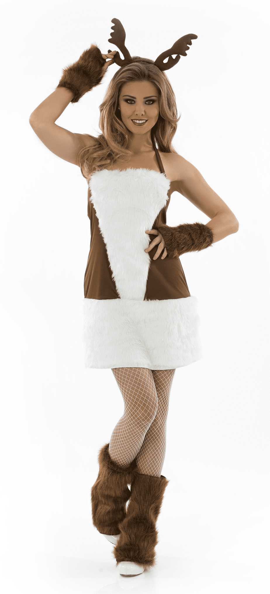 Ladies Sexy Reindeer Christmas Costume.Includes:Dress,Gloves, Antlers And Boots.