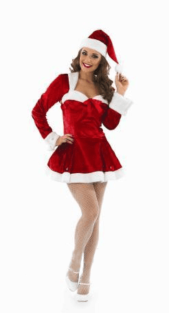 Ladies Missy Clause Christmas Costume.Includes Dress With Attached Top And Hat.