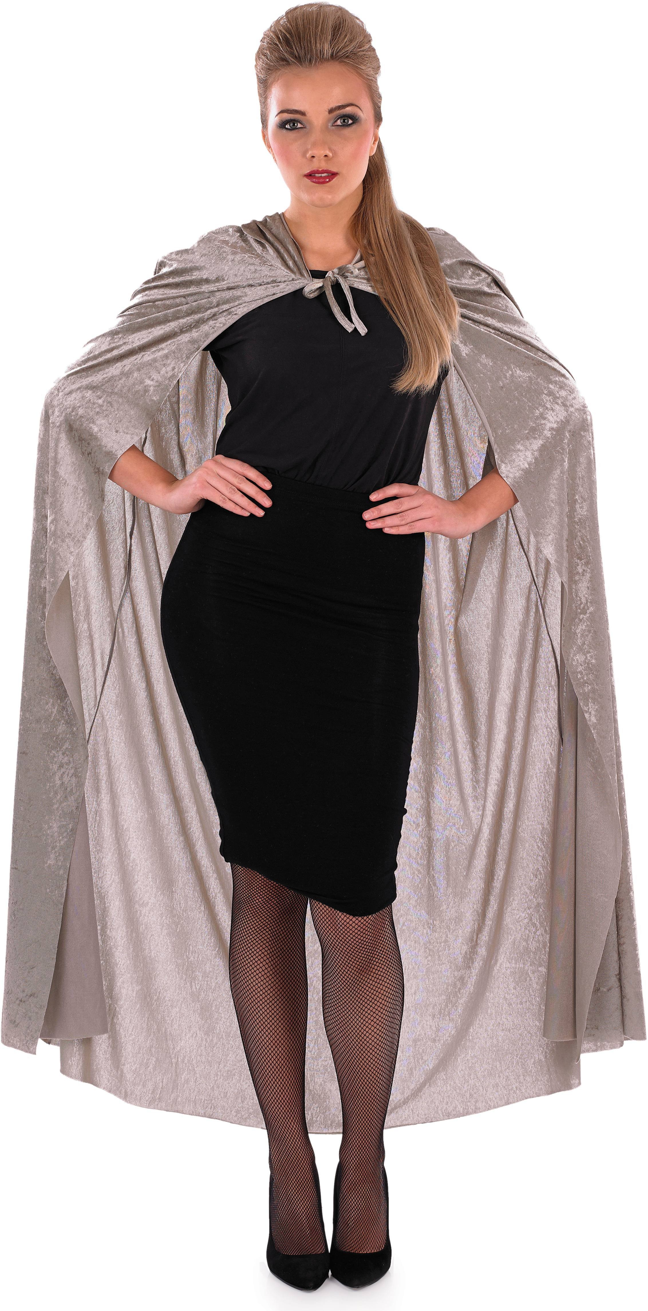 Ladies Grey (Grey Velour Hooded Cape)Fancy Dress Costume