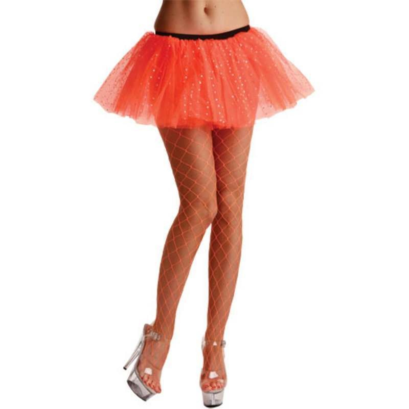 Diamond Tights / Neon Orange - Fancy Dress Ladies