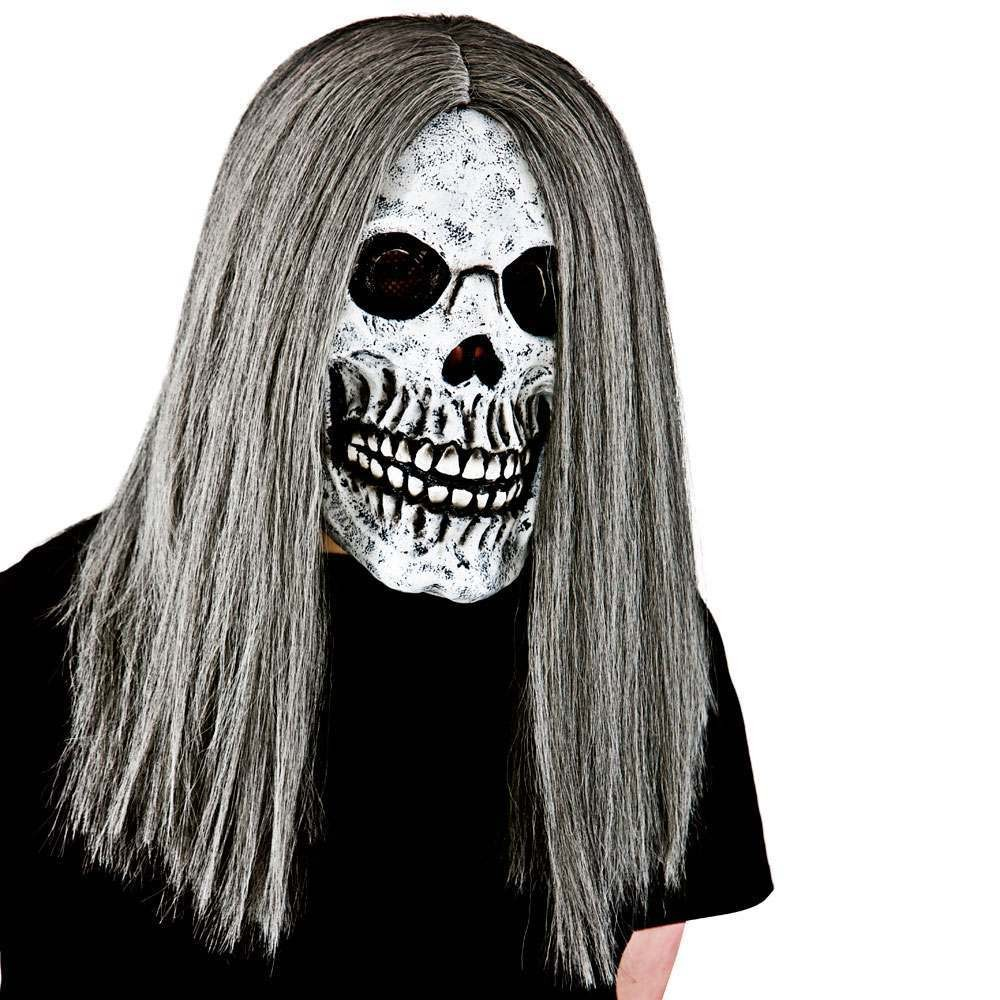Adult Unisex Skeleton With Hair - Deluxe Foam Mask Masks - (Grey)