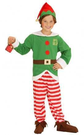 Boys Red/Green Santas Little Helper/Elf Christmas Fancy Dress Costume