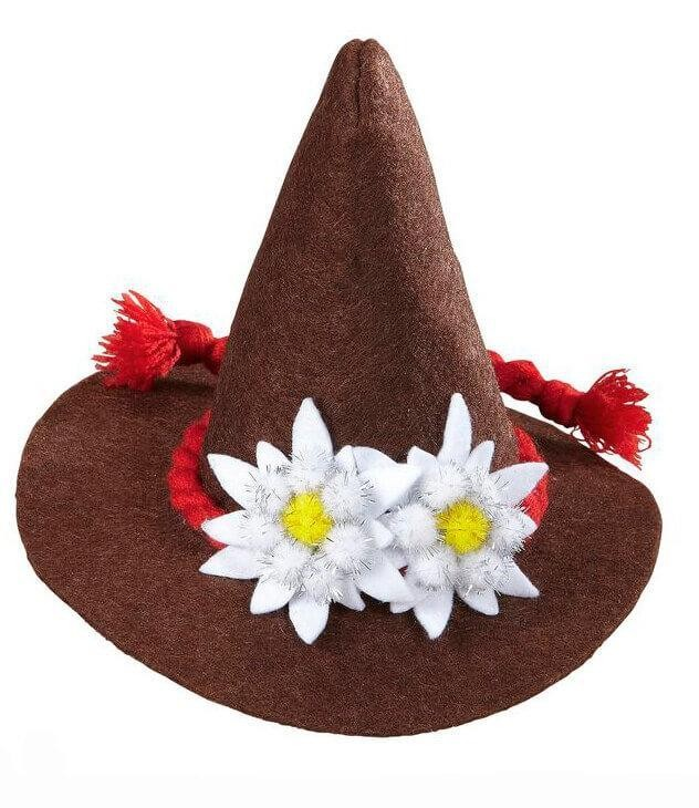 Adults Brown Bavarian Mini Hat With Edelweiss Fancy Dress Accessory
