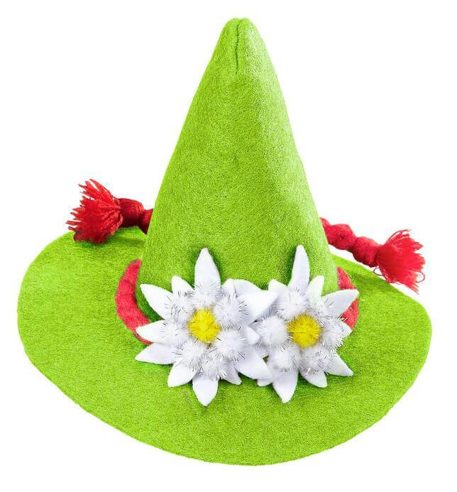 Adults Green Bavarian Mini Hat With Edelweiss Fancy Dress Accessory