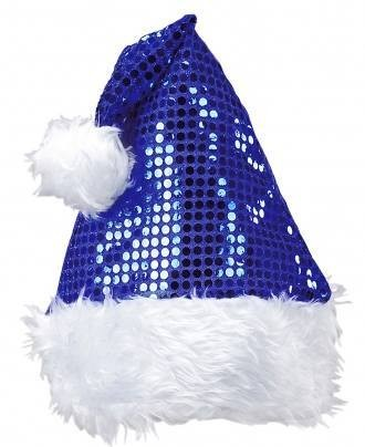 Festive Blue  Sequin Santa Claus Party Hat