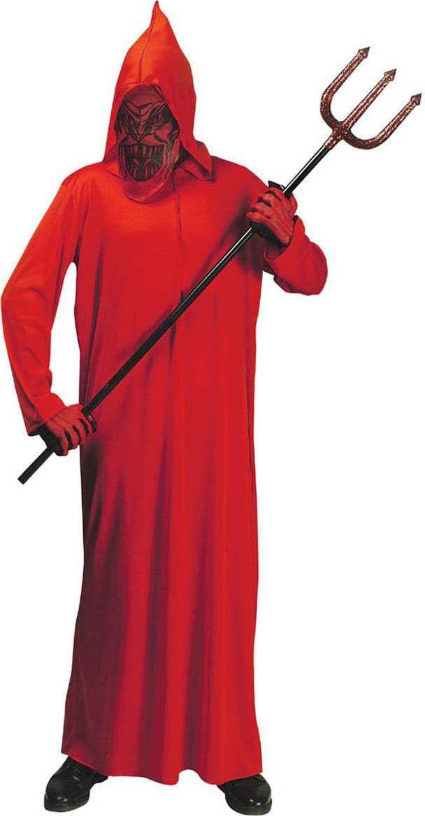Boys Devil - (Hooded Robe W/Mask) Halloween Outfit - (Red)