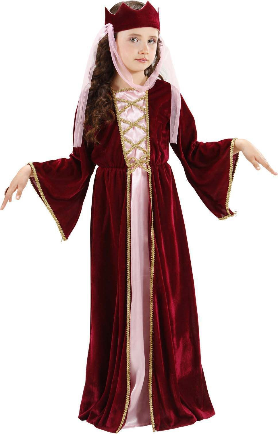Girls Medieval Queen (Dress Crown W/Veil) Medieval - (Red)