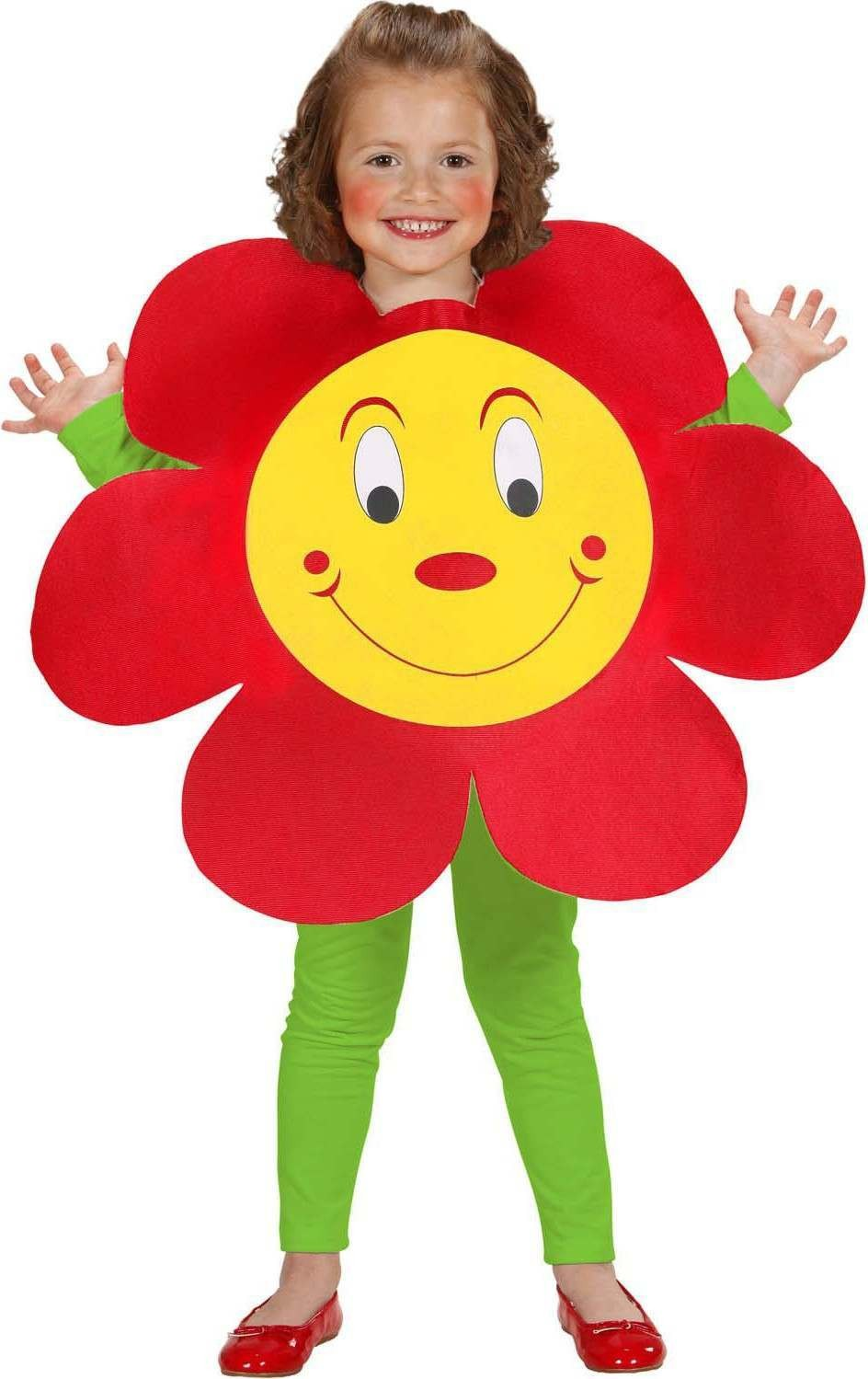 Girls Flower Tabard Flowers Outfit - (Red)