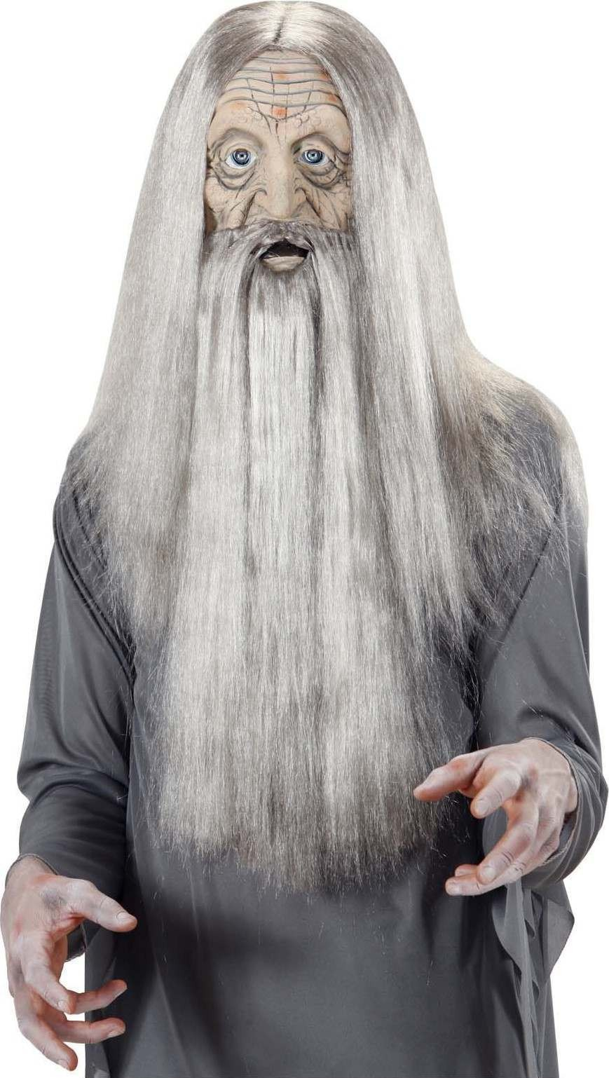 Boys Millenarian Foam Latex Mask W/ Hair & Beard - (Grey)