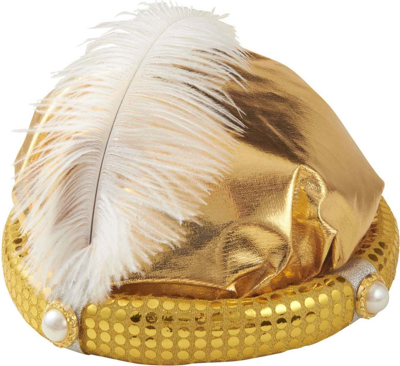 Boys Sultan Hats W/Pearls & Feather Hats - (Gold)